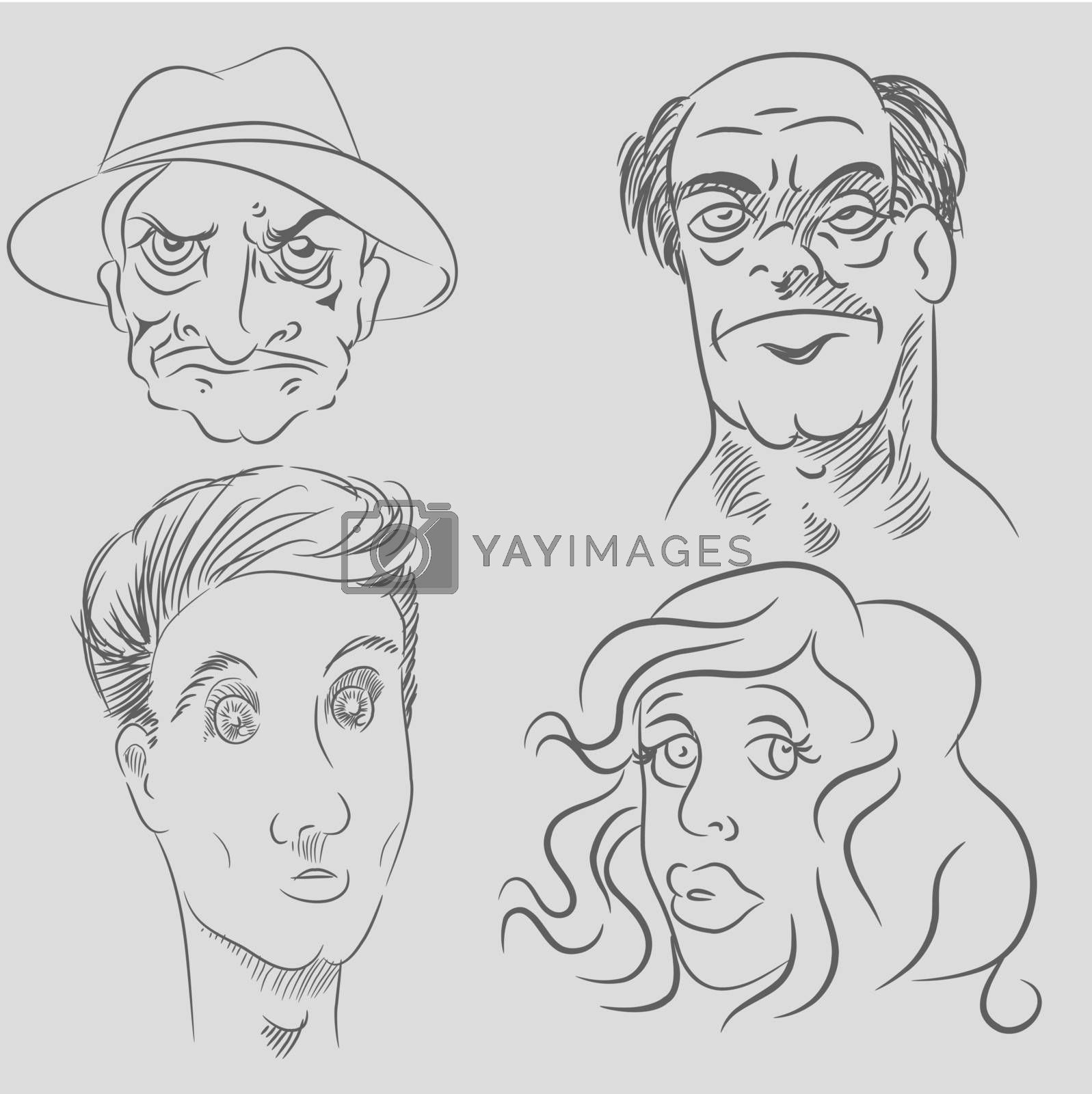 An image of a cartoon character faces.