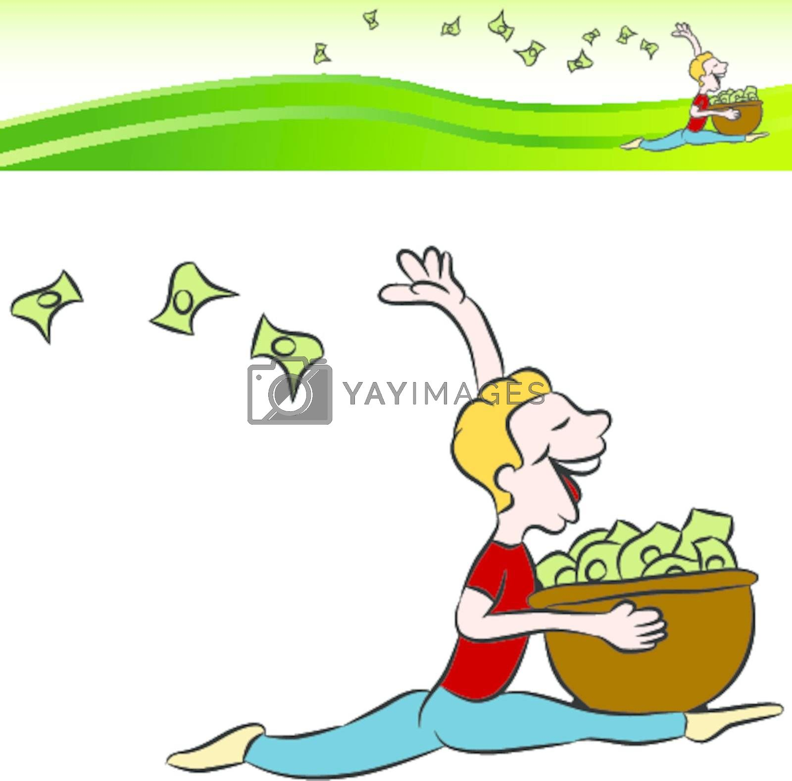 An image of a man running tossing money from a basket with banner.