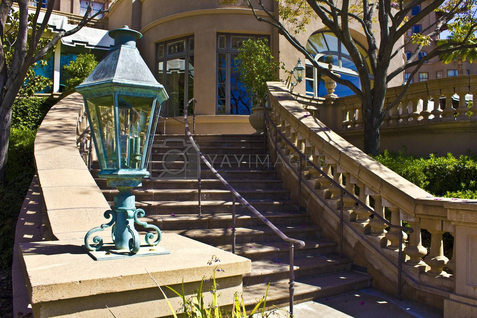 An image of an elegant outdoor stone staircase.