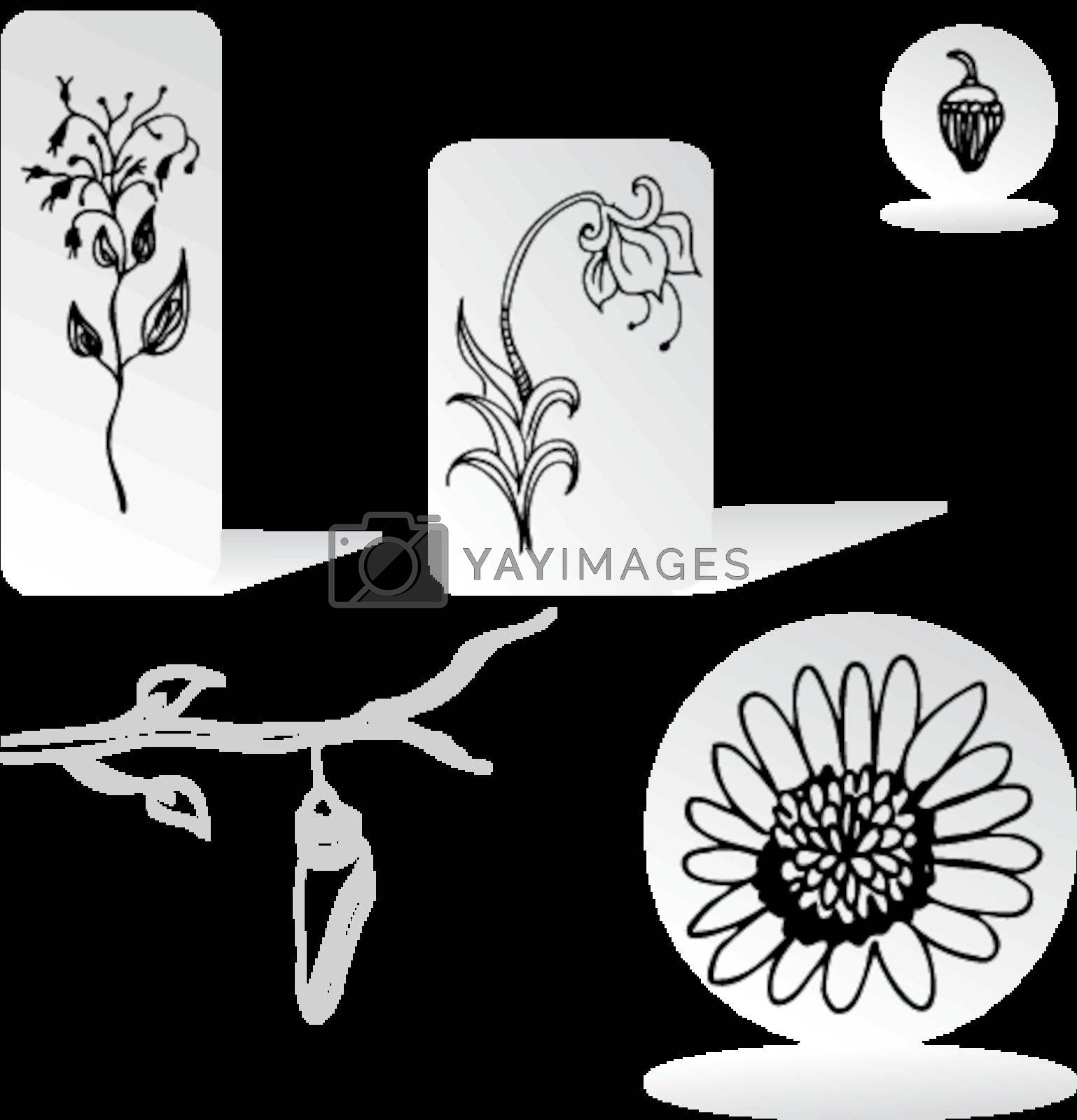 An image of a set of nature design elements.