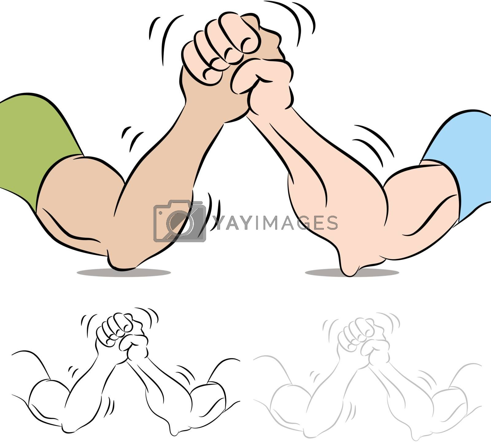 An image of a two people arm wrestling.