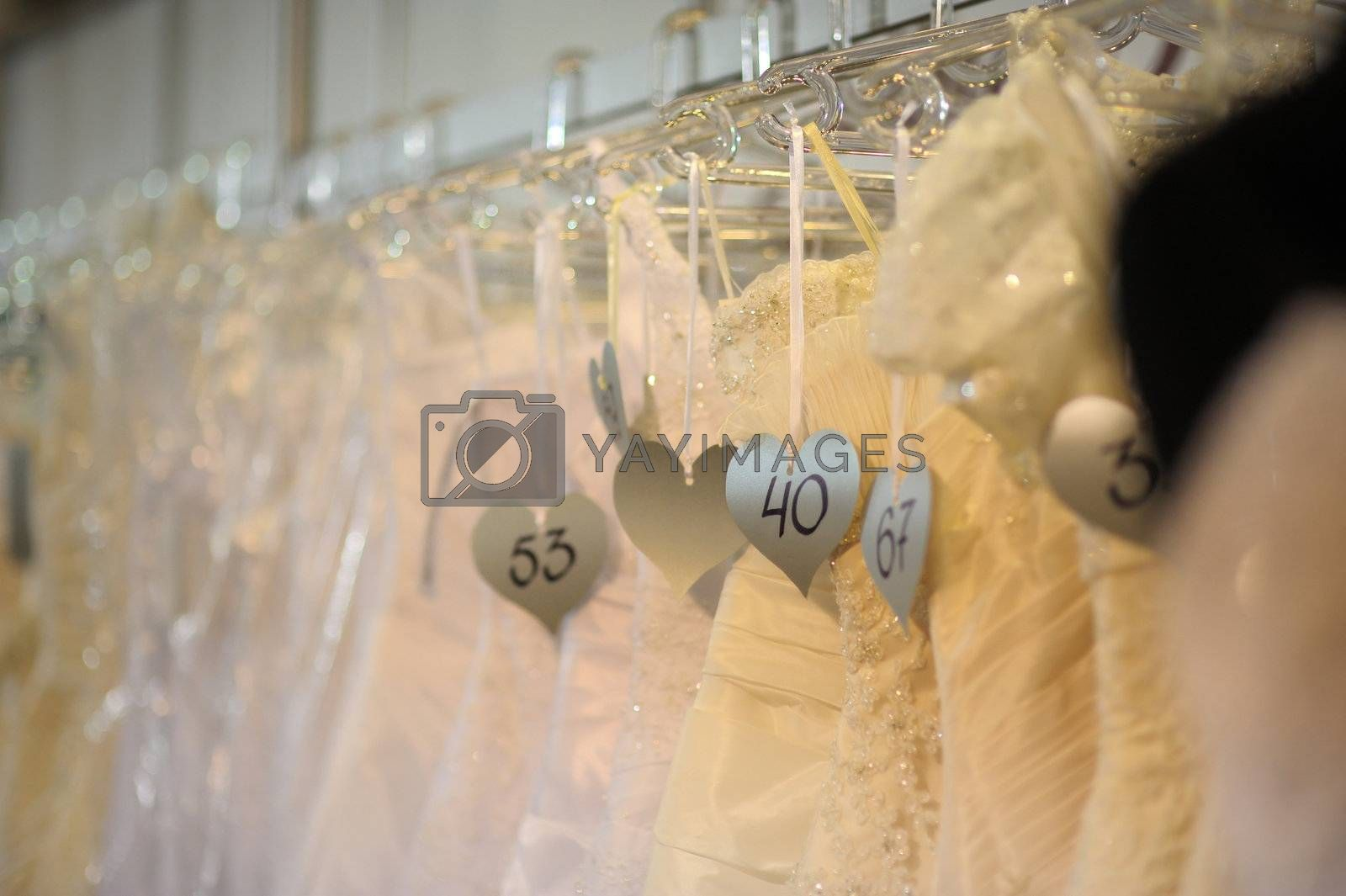Wedding dresses with numbering labels