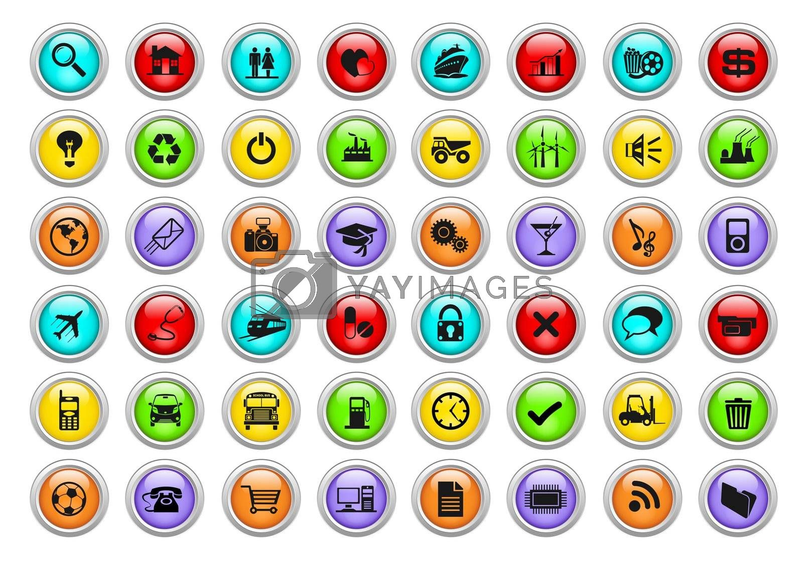 An illustration of different colorful web icons