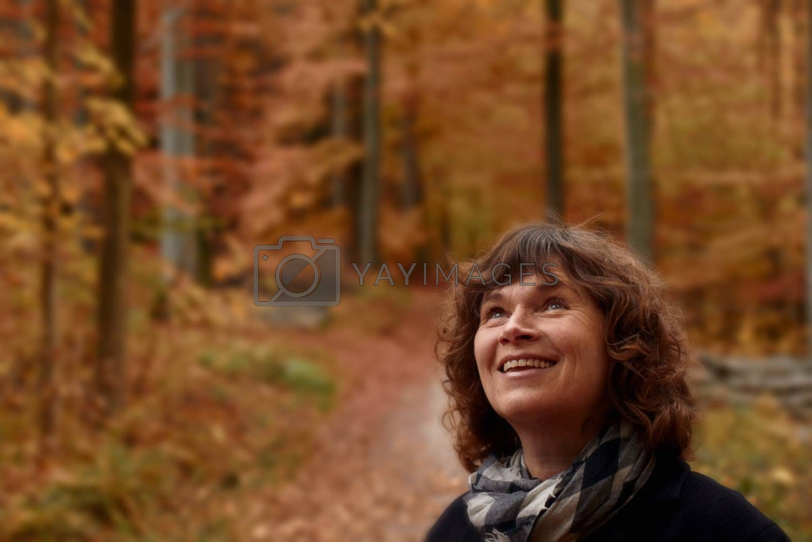 Royalty free image of Mature woman in forest looking up at copyspace by FreedomImage