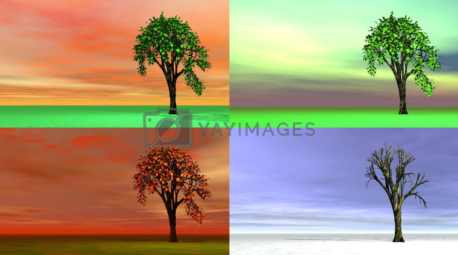 Four images representing each season with different colors end trees