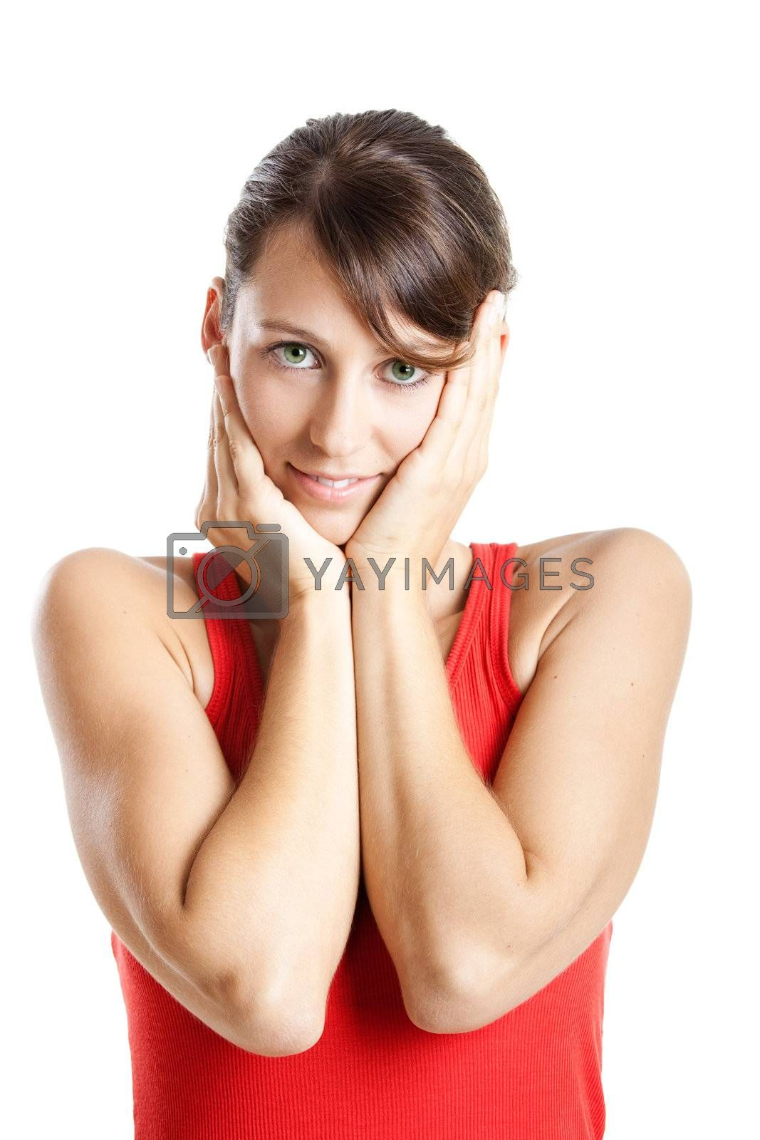Portrait of a beautiful young woman whit both hands on the face