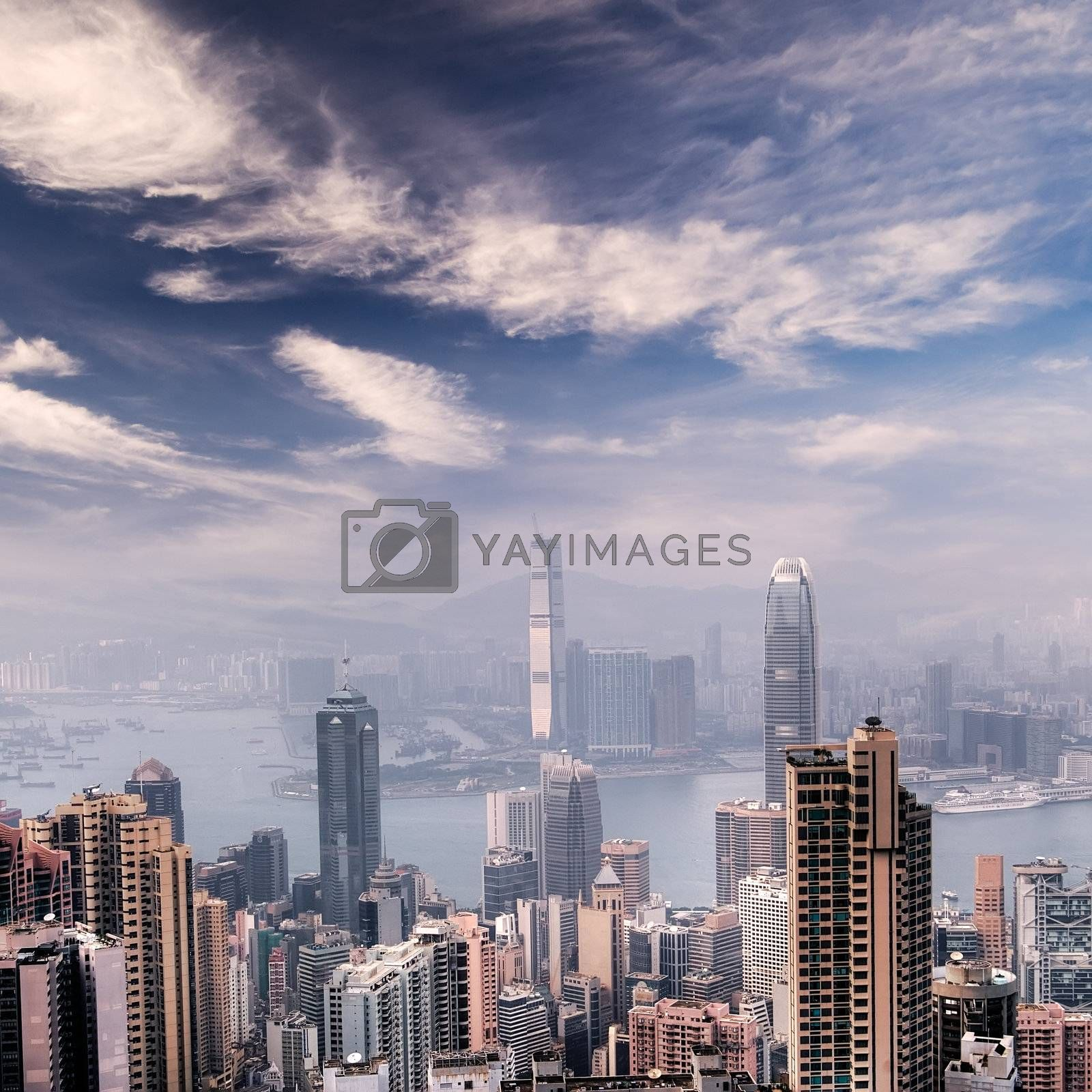 Cityscape of Hong Kong skyscrapers and skyline near the Victoria harbor.