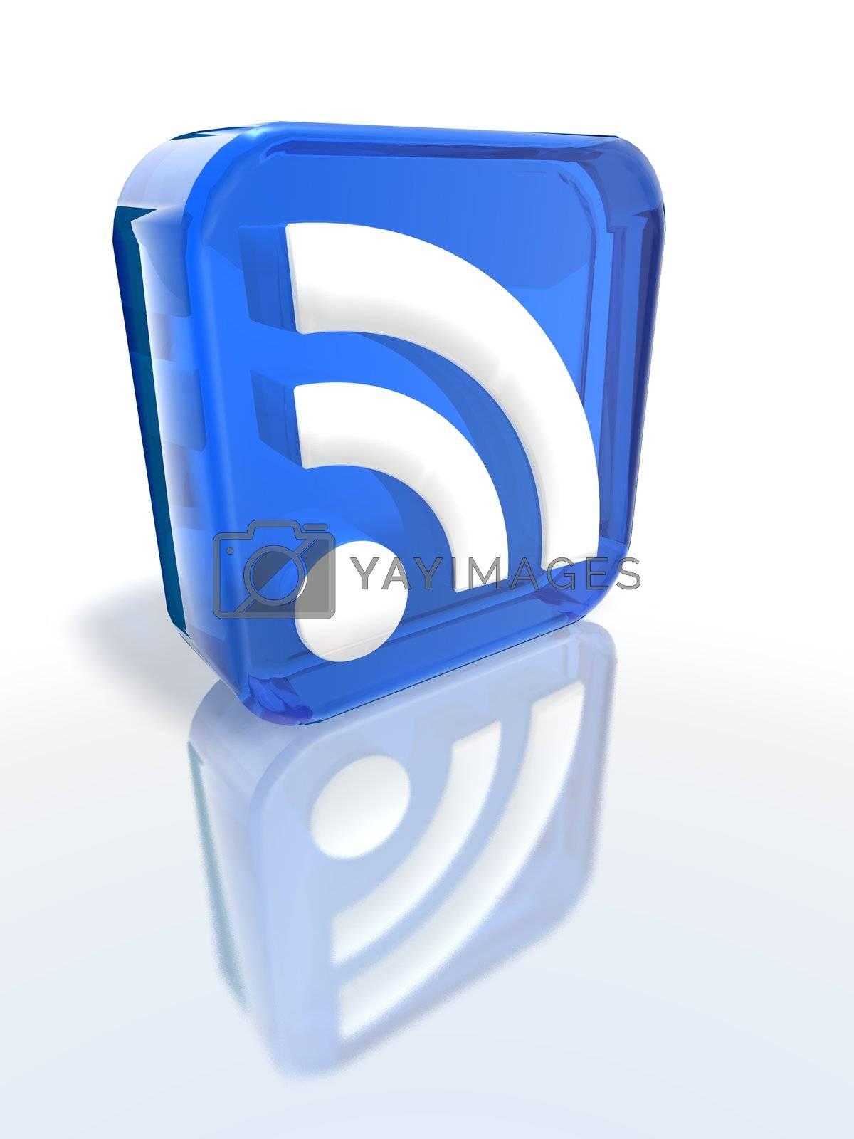 a 3d render of a blue RSS sign