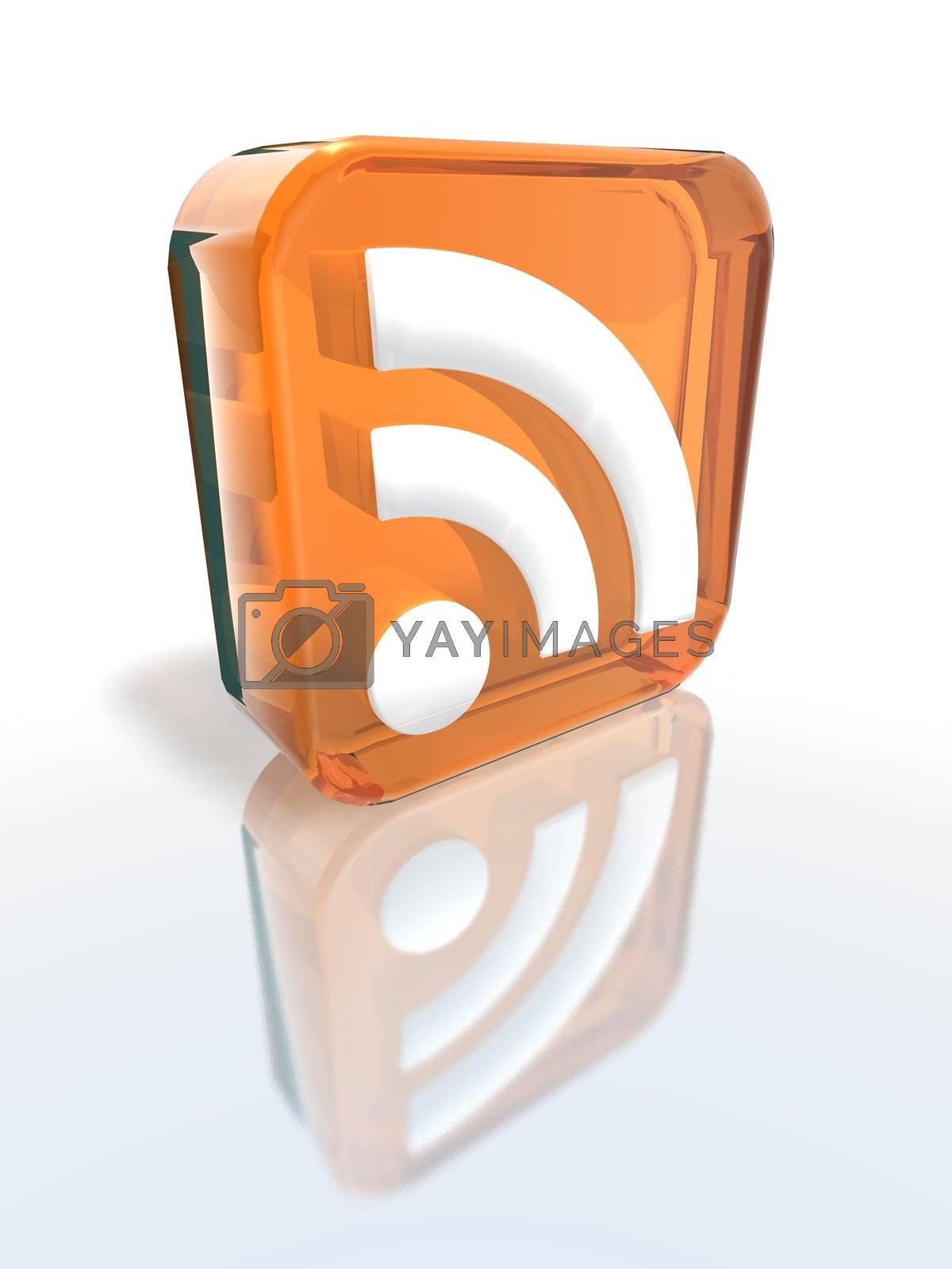 a 3d render of an orange RSS sign