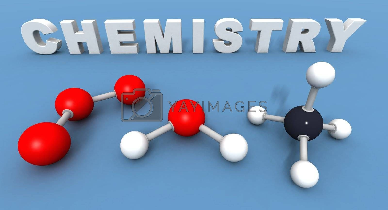 a 3Drender of some text and molecules to illustrate the word chemistry