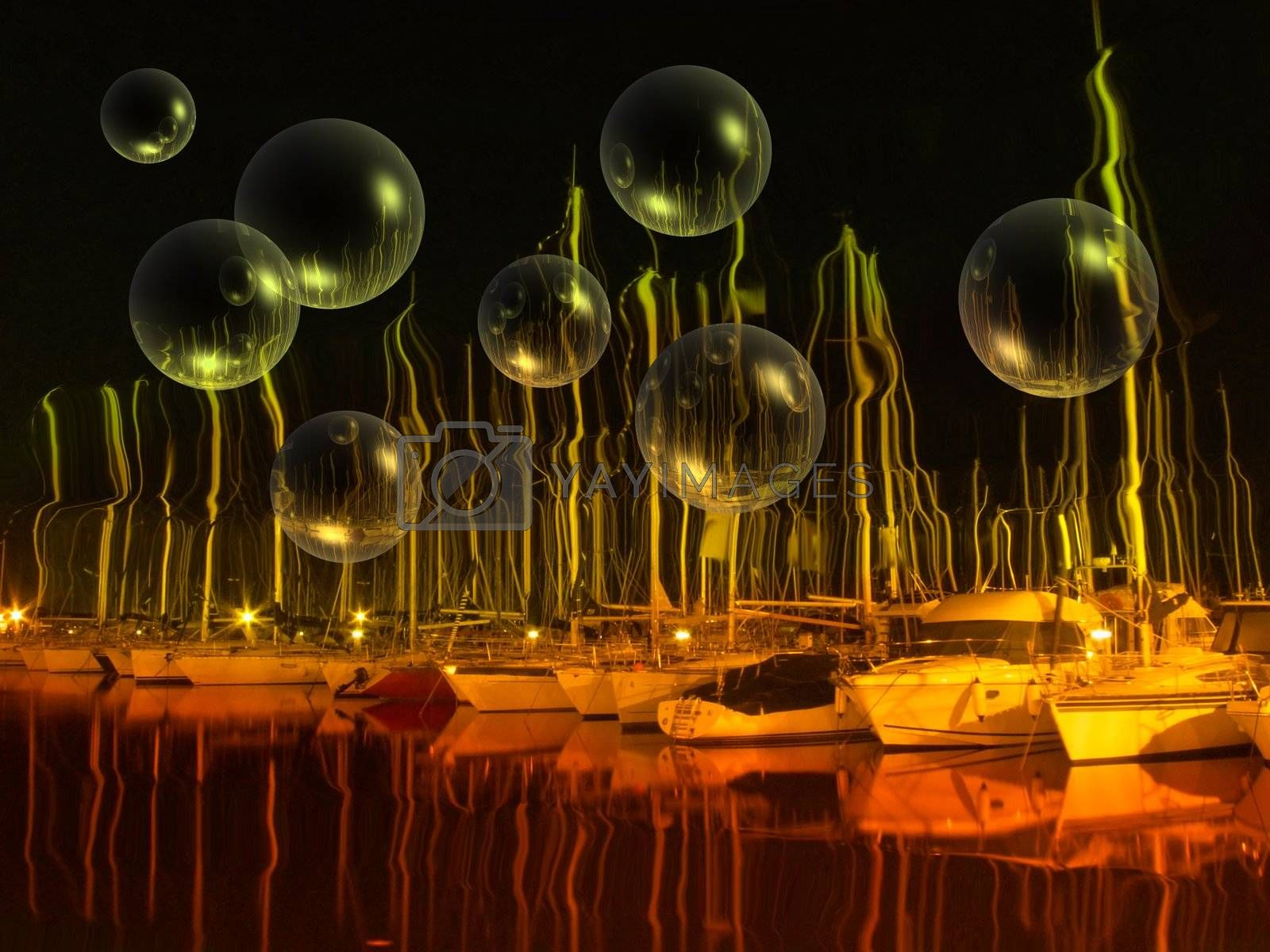 an enhanced photo of boats at harbor with bubbles