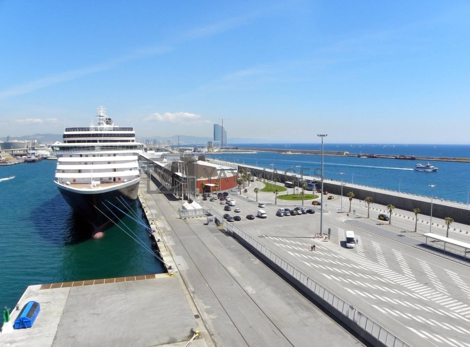 Cruise ship docked in the port of Barcelona