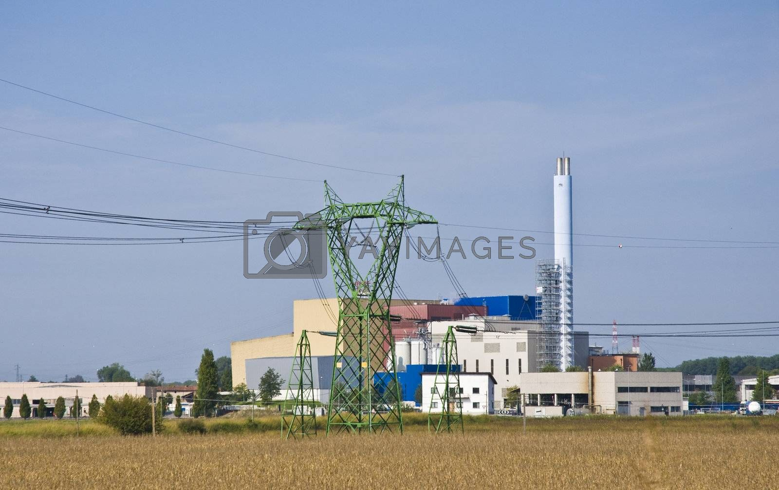 Factory in the midst of agricultural crops