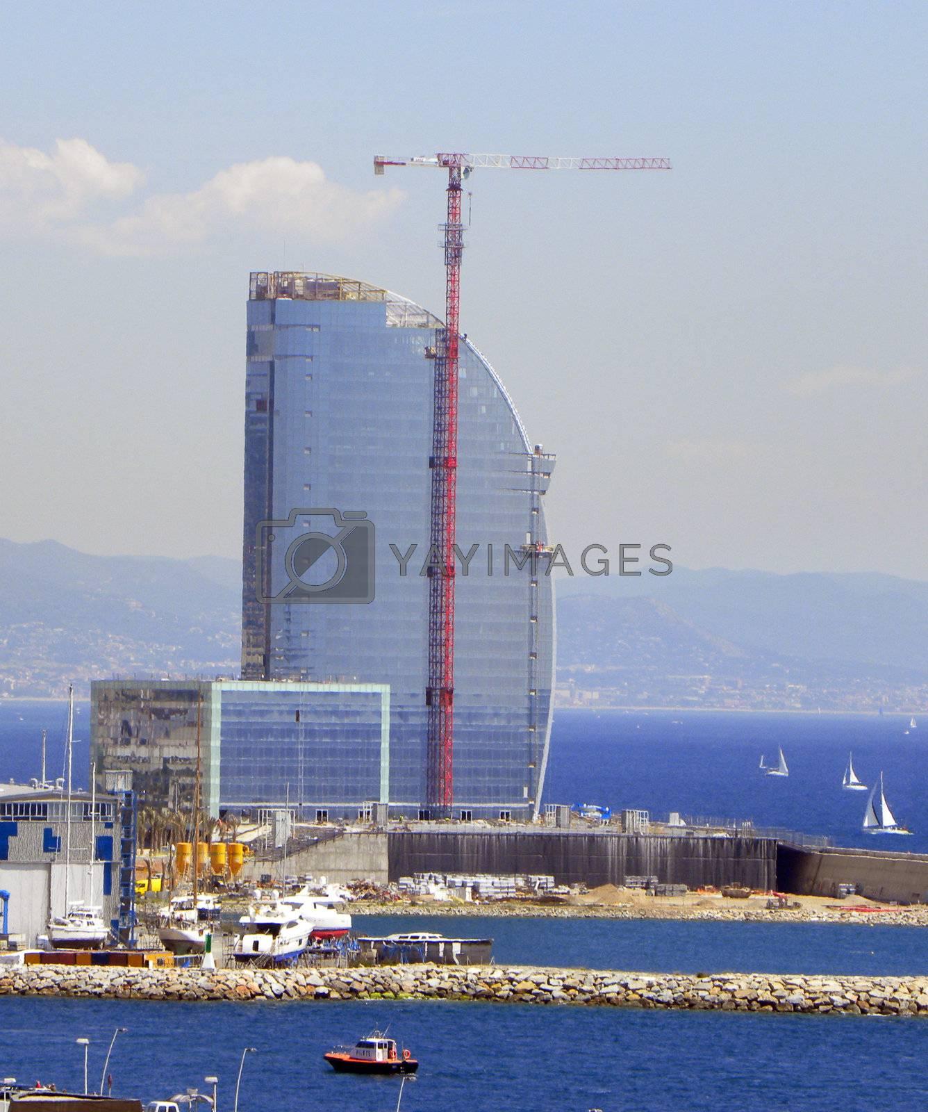 Skyscraper under construction on the sea
