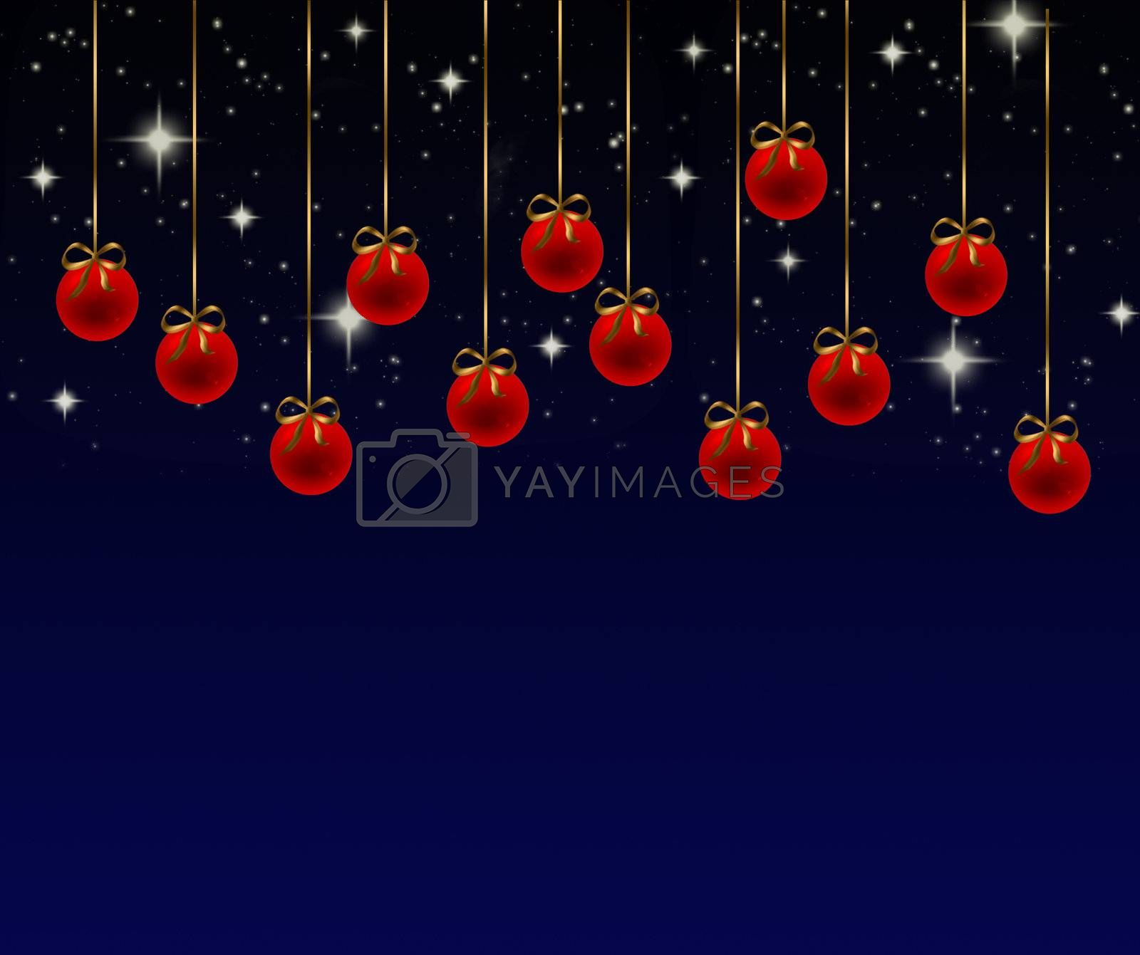 Series of red Christmas balls on a blue background