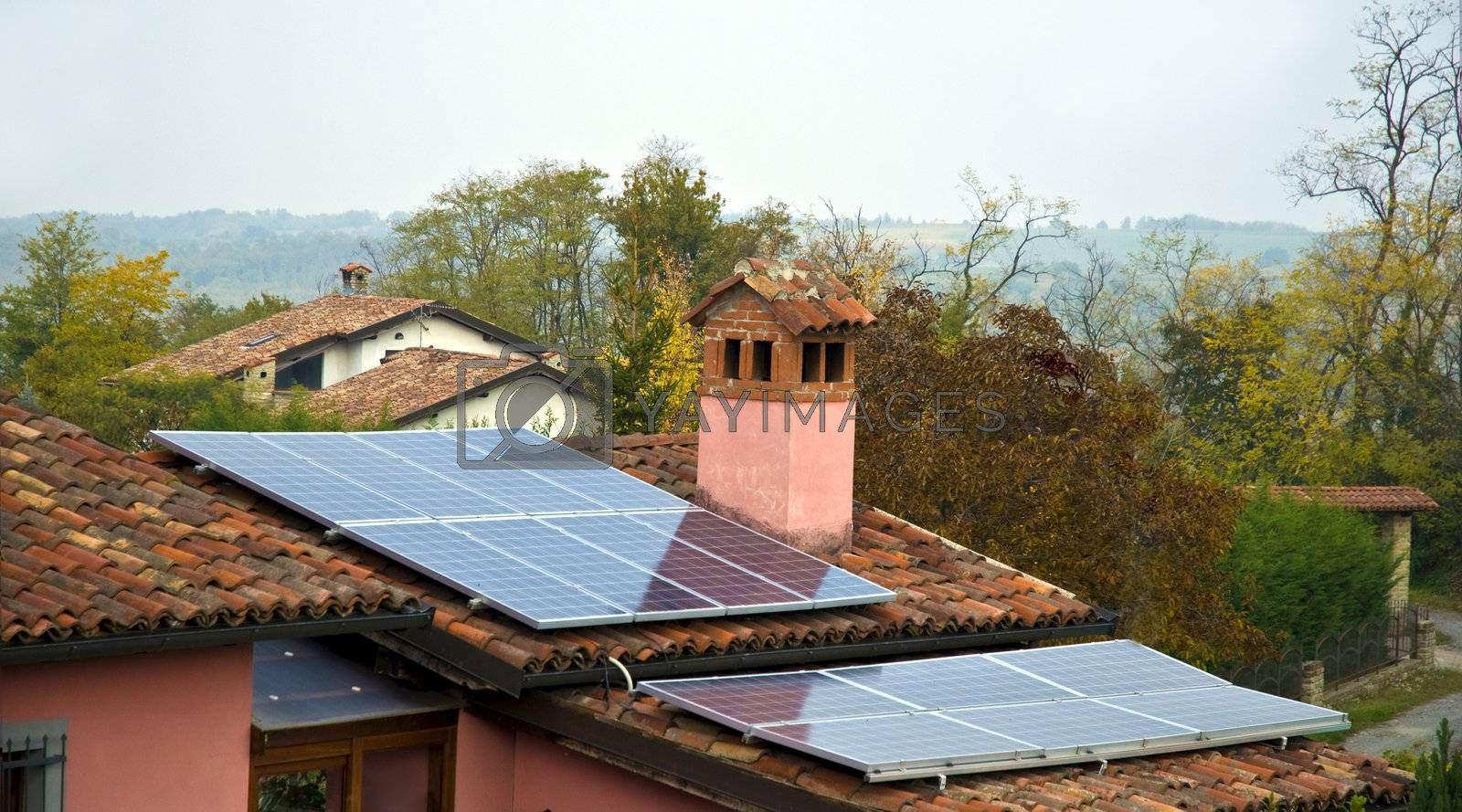 pitched roof with solar panels