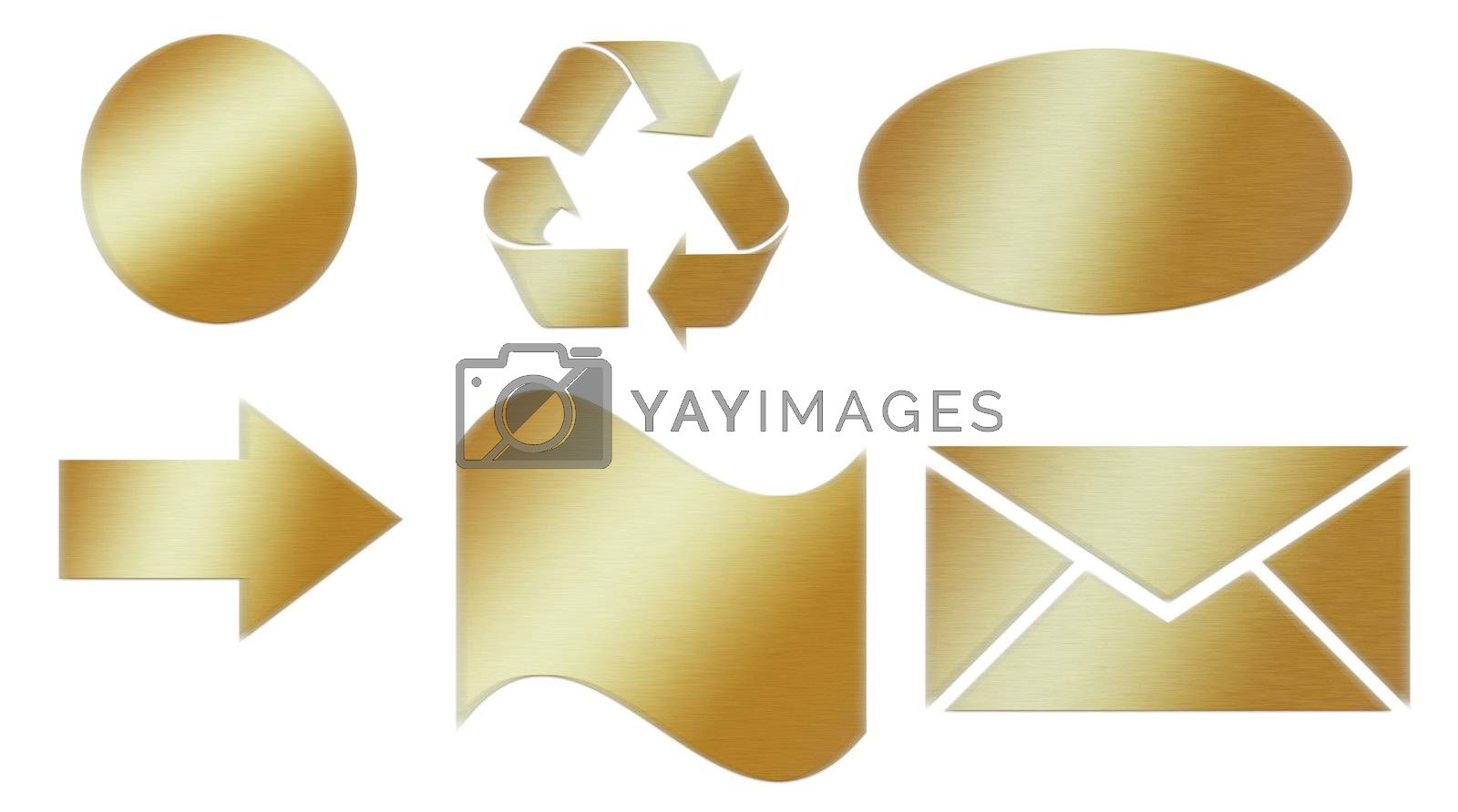 collection of golden buttons of various shapes