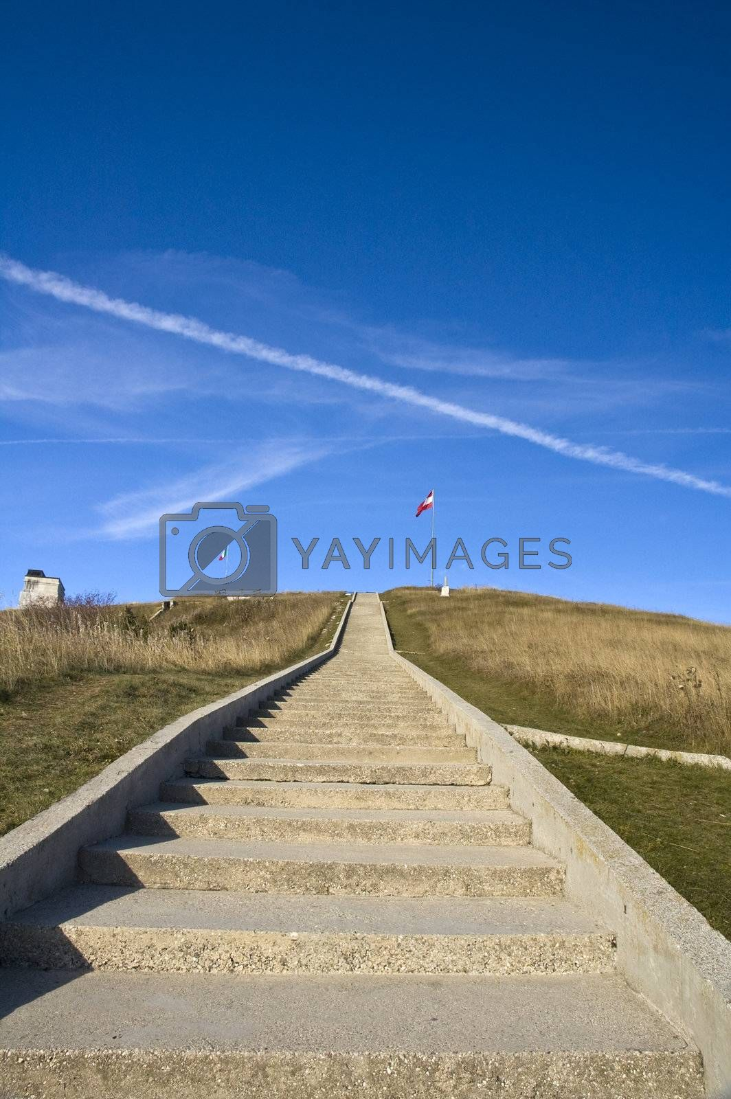 Staircase leading to the summit of Mount Grappa