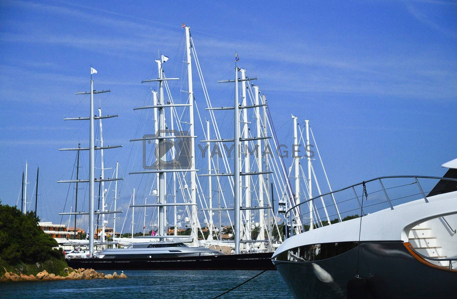 sailboats and yachts at Porto Cervo in Sardinia