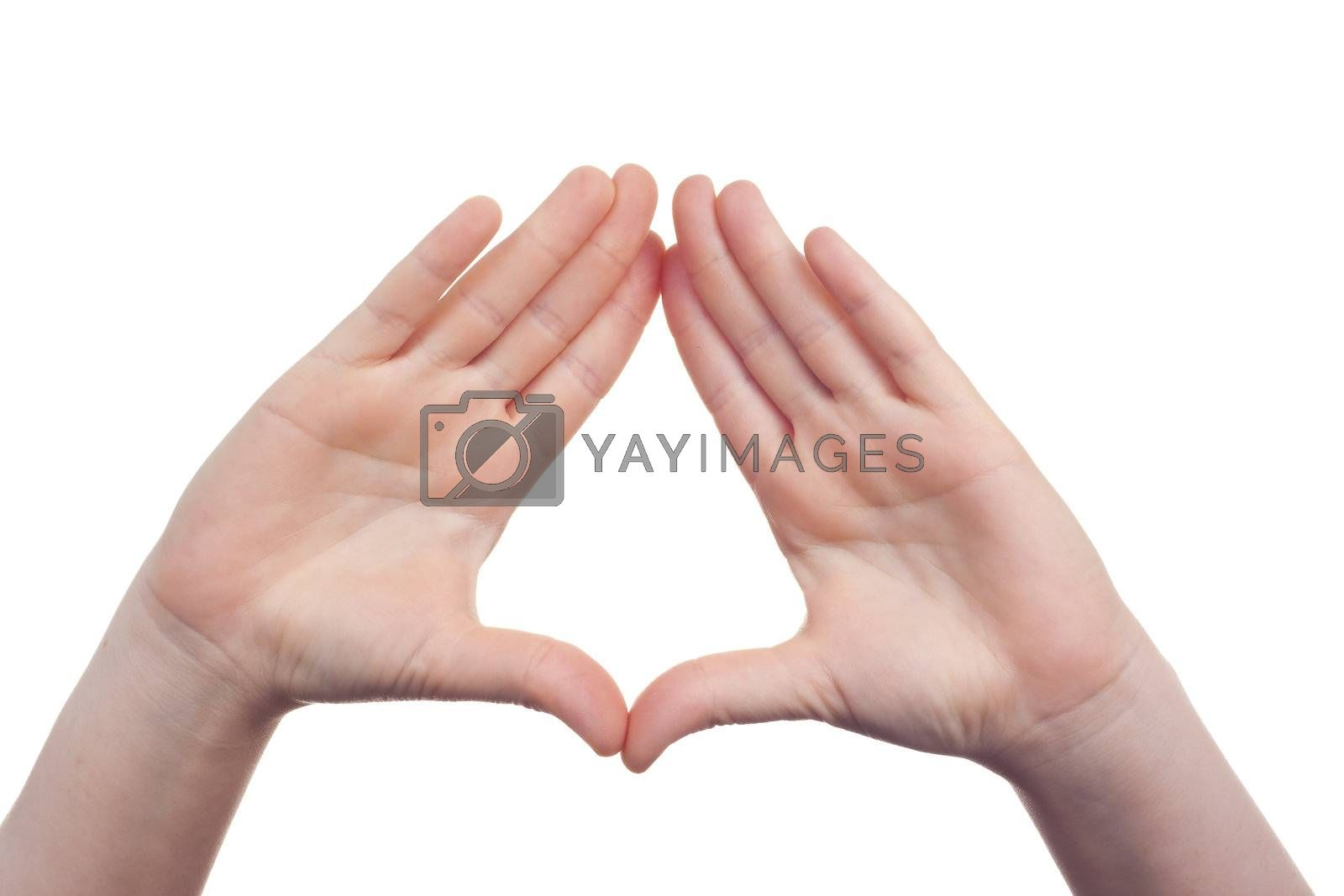 sign with the hand and fingers isolated over a withe background