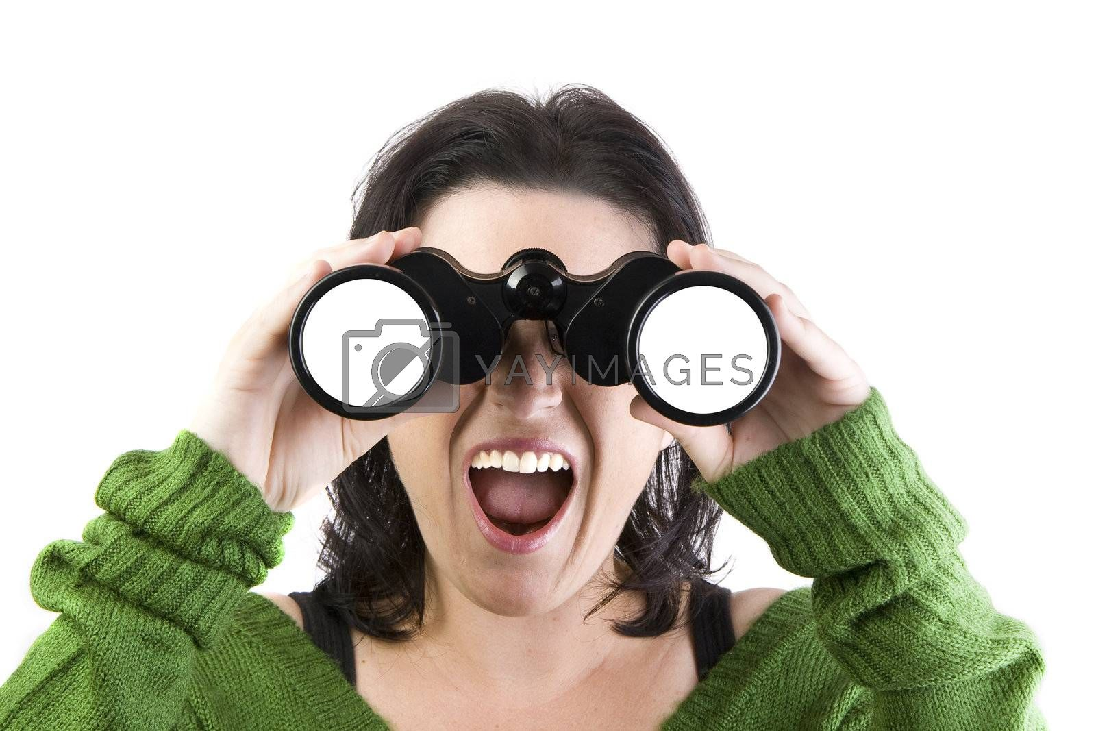 a woman watching through binoculars isolated over a withe background