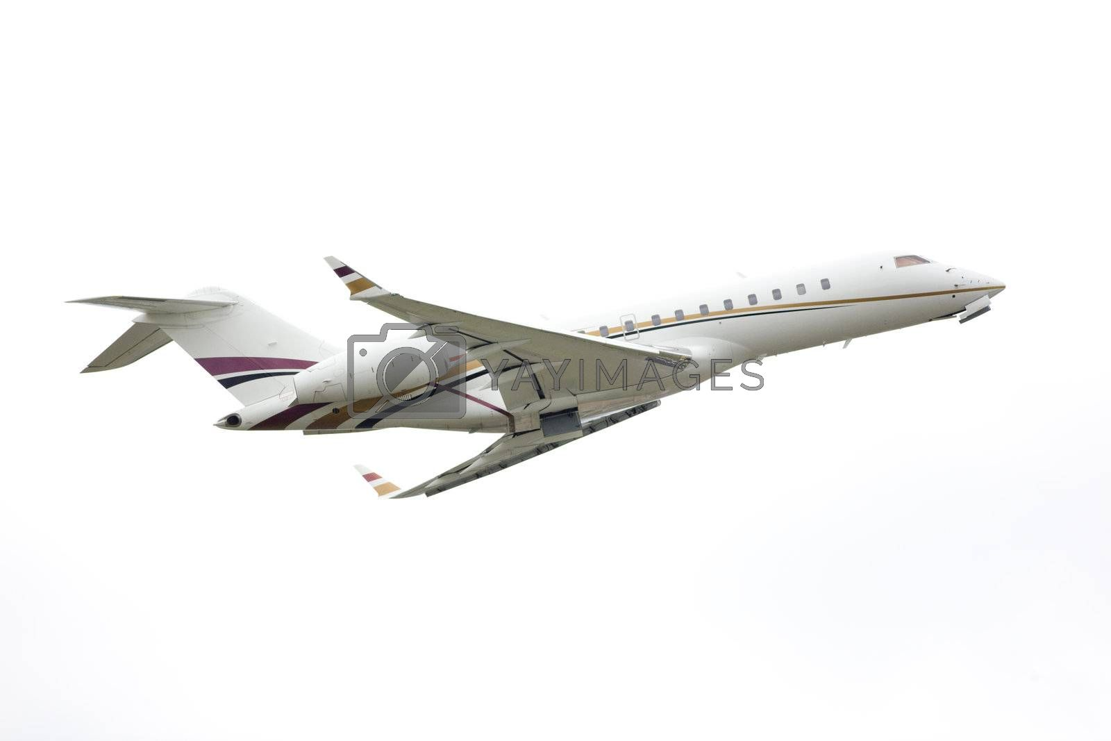 passenger airplane in a business transportation image isolated over a withe background