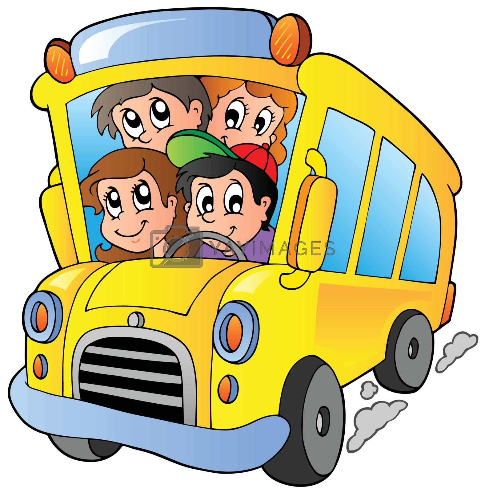 School bus with happy children by clairev