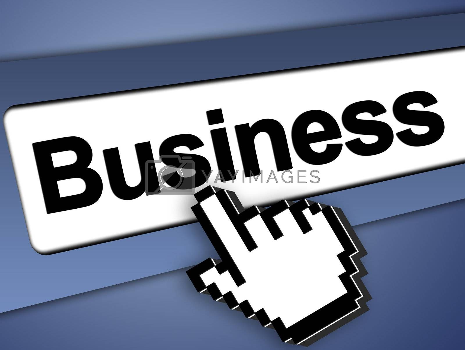 business Graphic bar with mouse pointer , on blue background