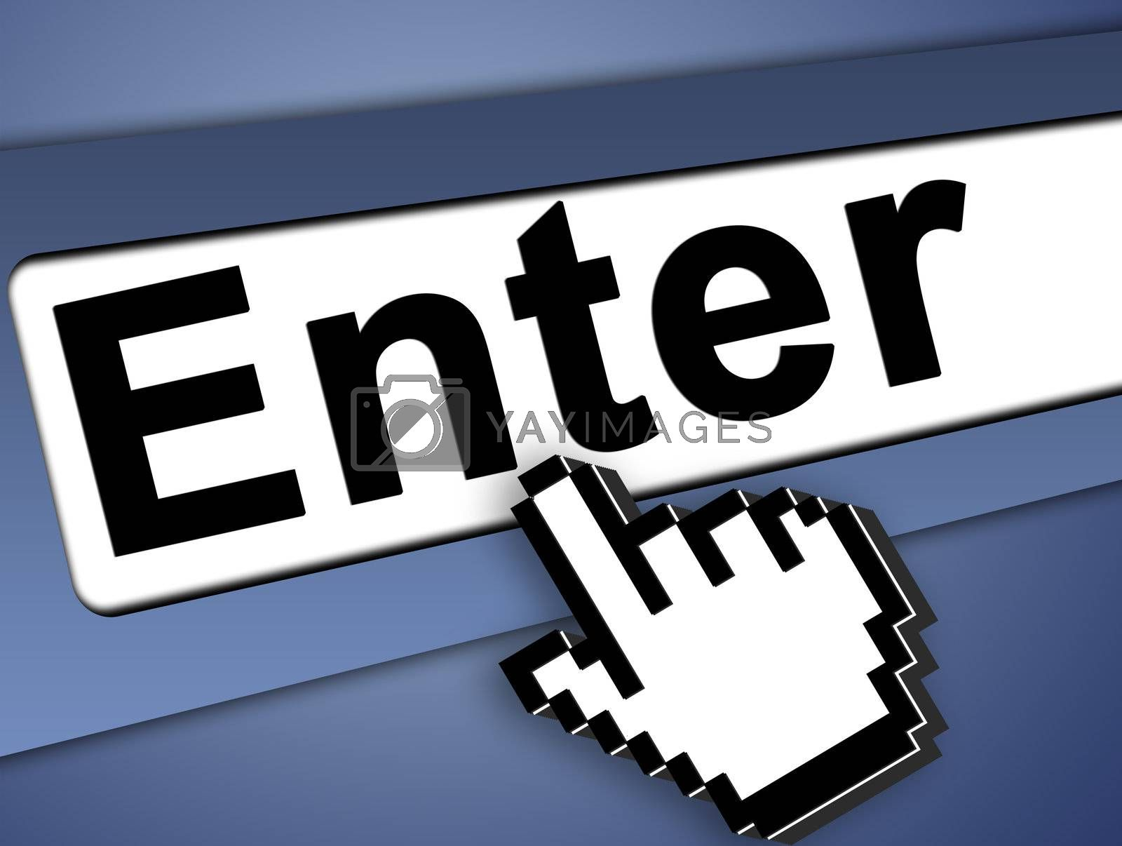 Enter Graphic bar with mouse pointer , on blue background