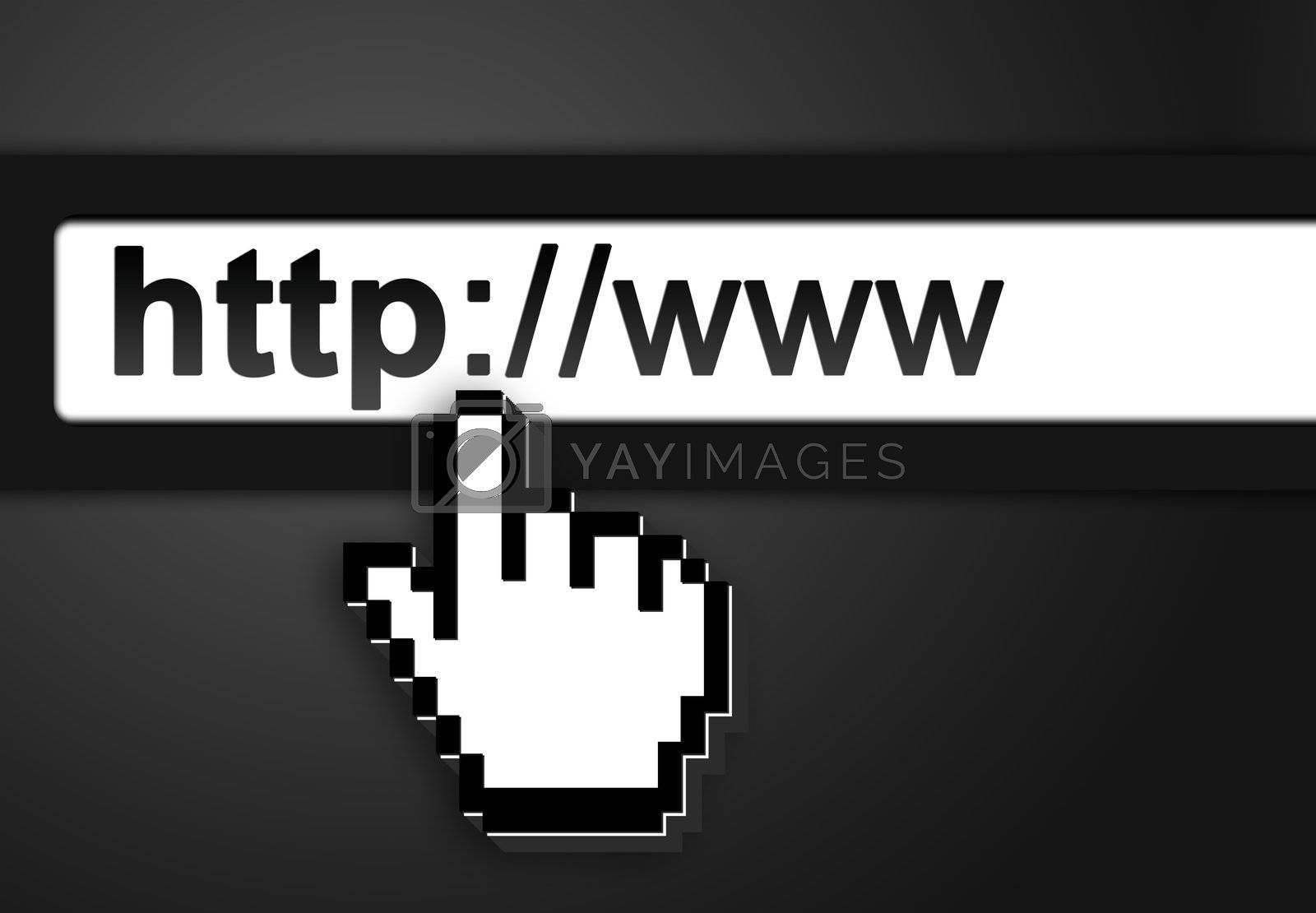 black Graphic bar on computer with 3d mouse pointer , on gray background