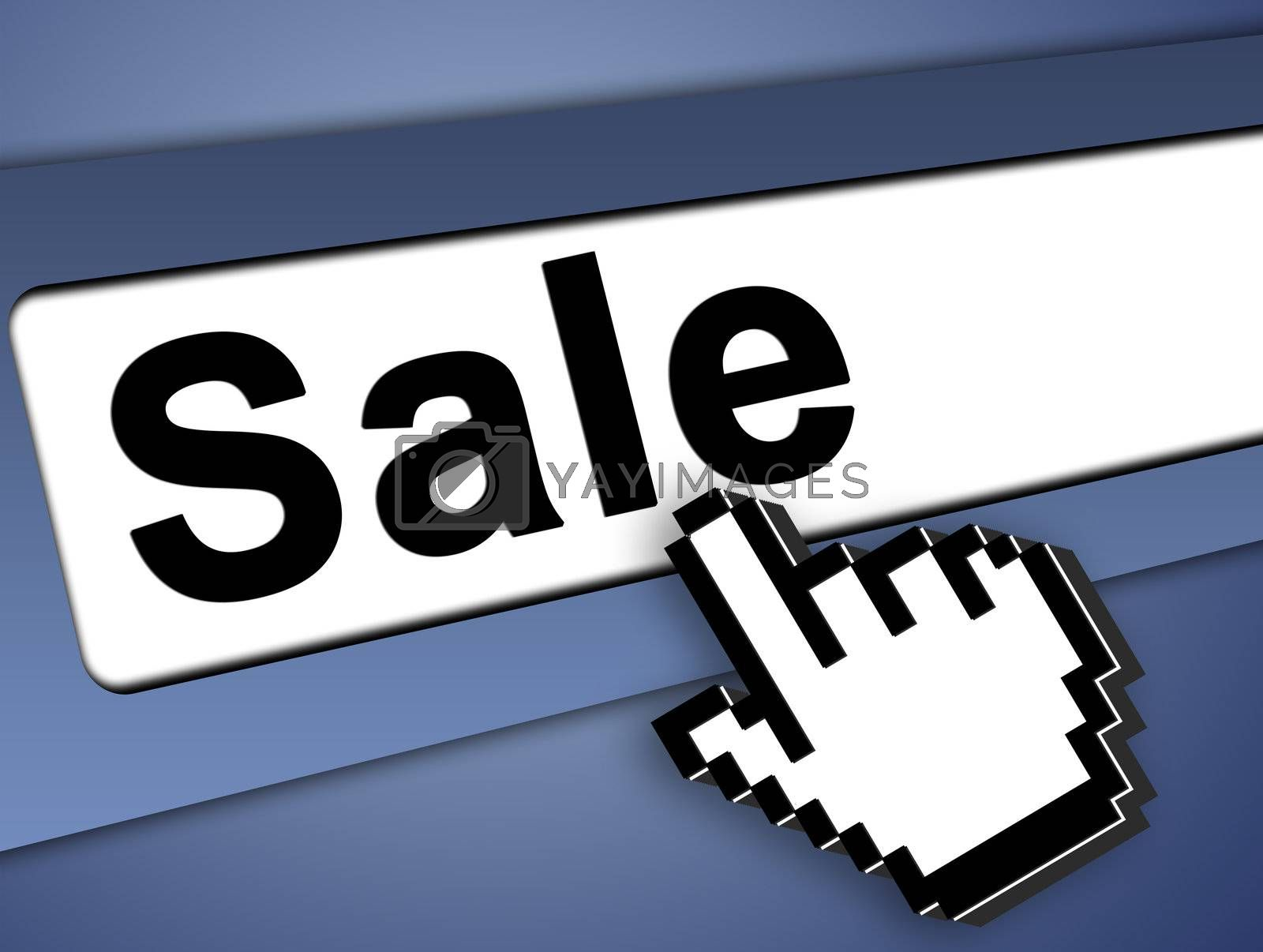 Sale Graphic bar with mouse pointer , on blue background