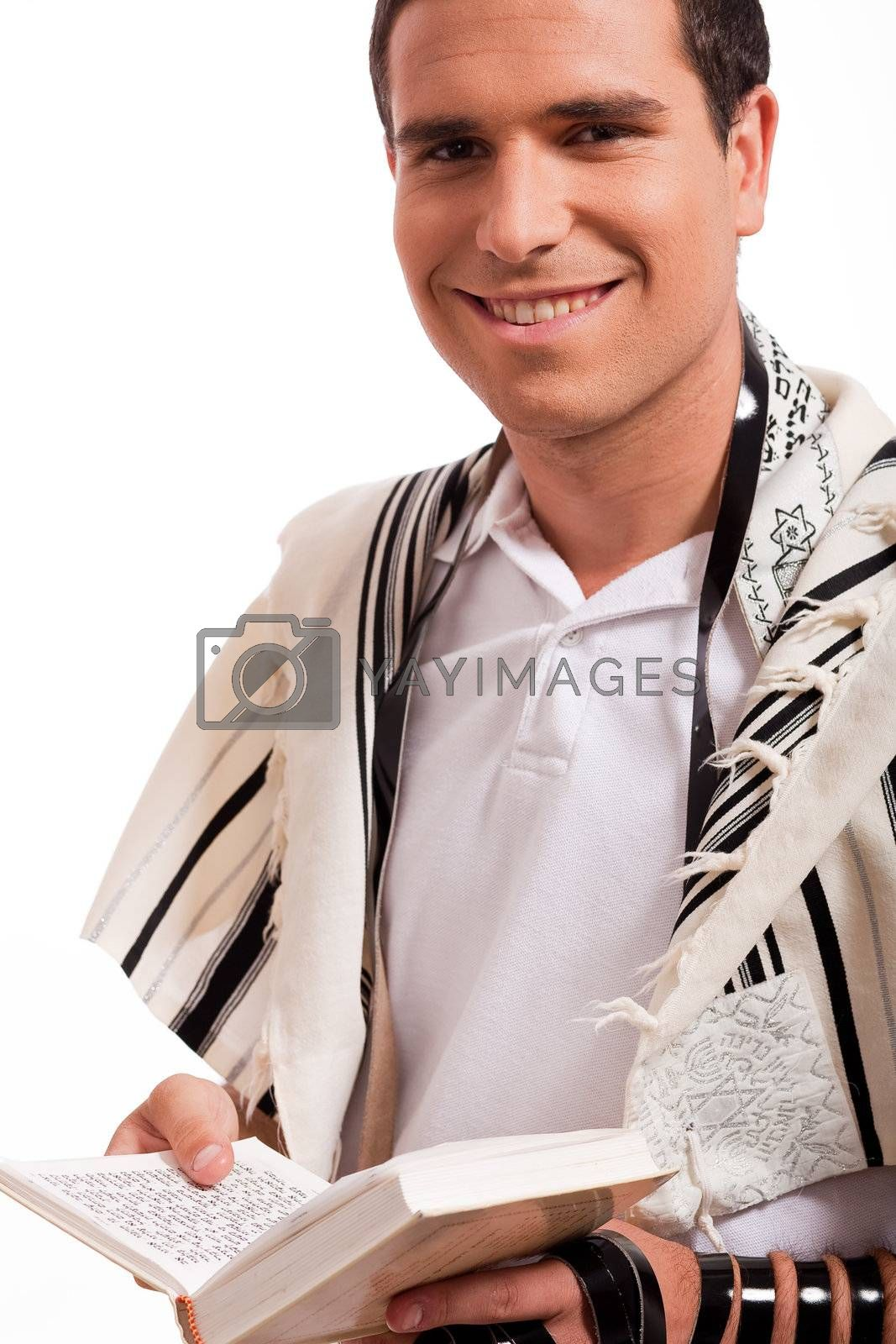 jewish men put phylactery on isolated background