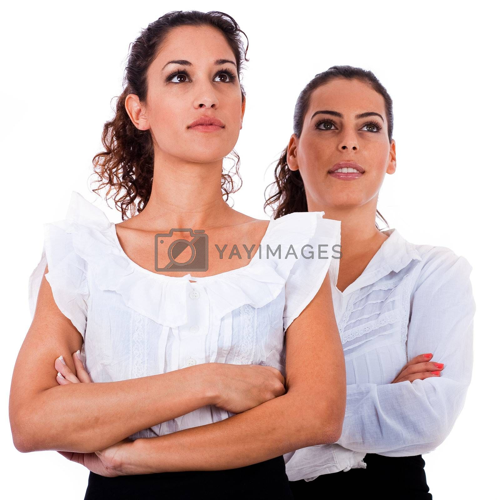 Close up portrait of young business women's with their hands folded on isolated white background