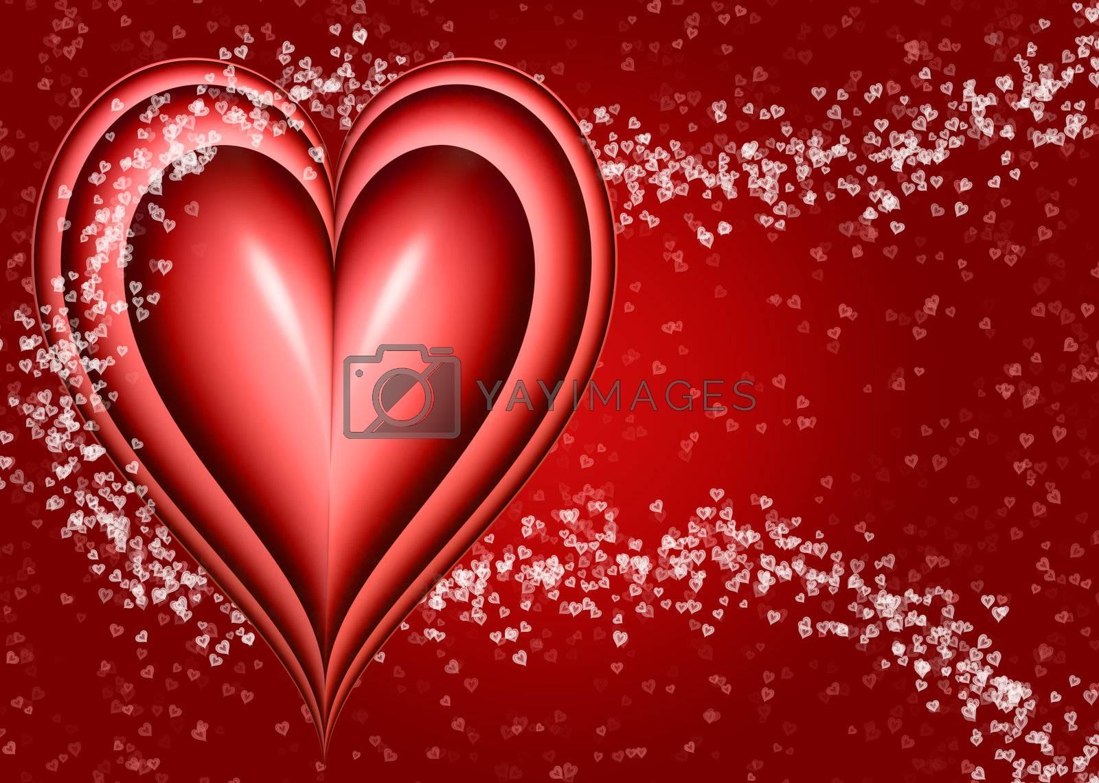 valentine love heart design with smaller hearts