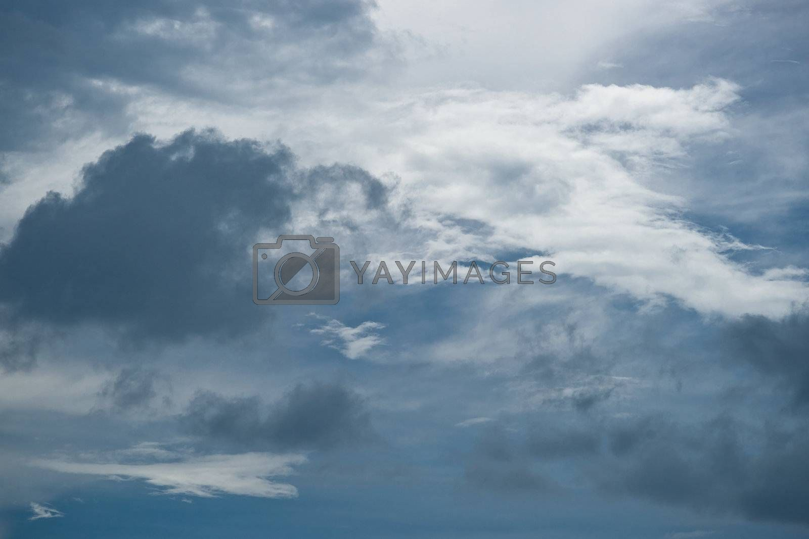 Dark cumuluc clouds on the sky, background