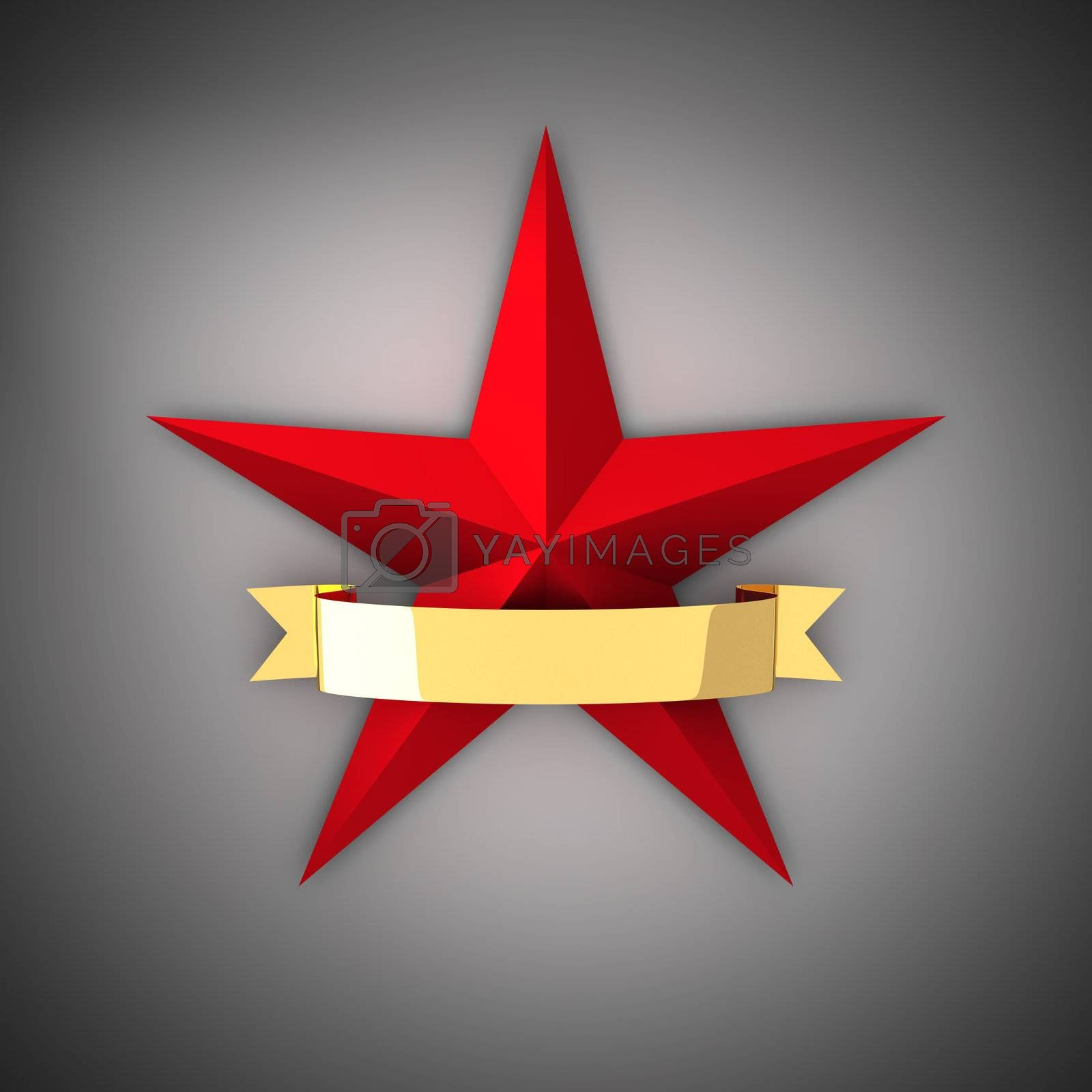 The big red star and gold ribbon