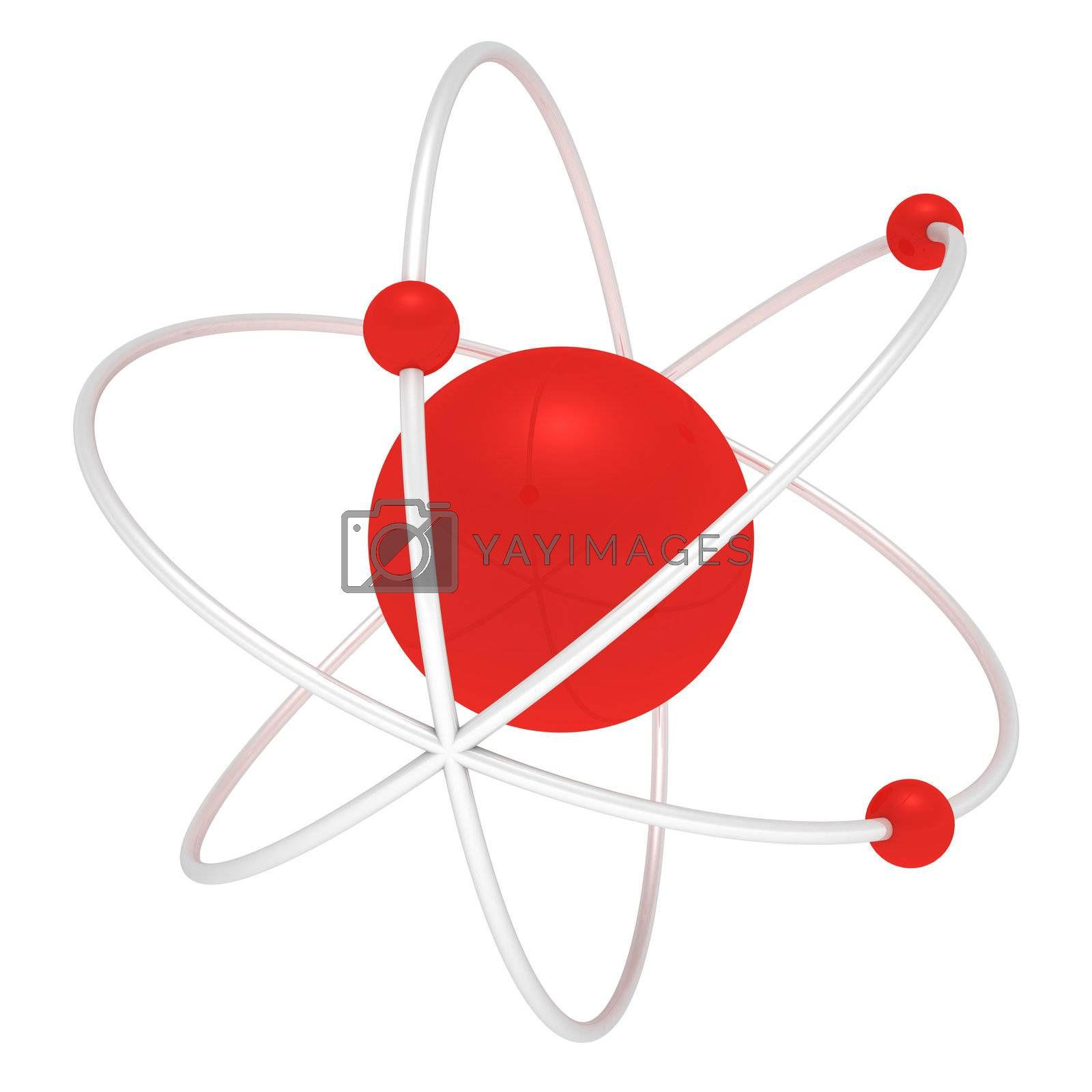 Three-dimensional atom isolated on white background