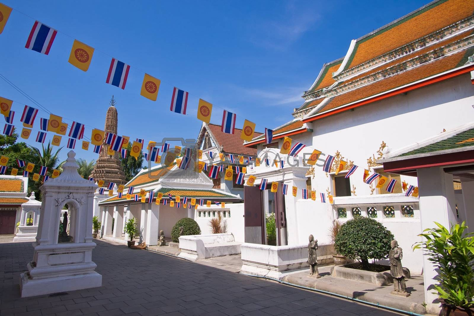 National flags in the buddhist temple, Bangkok, Thailand
