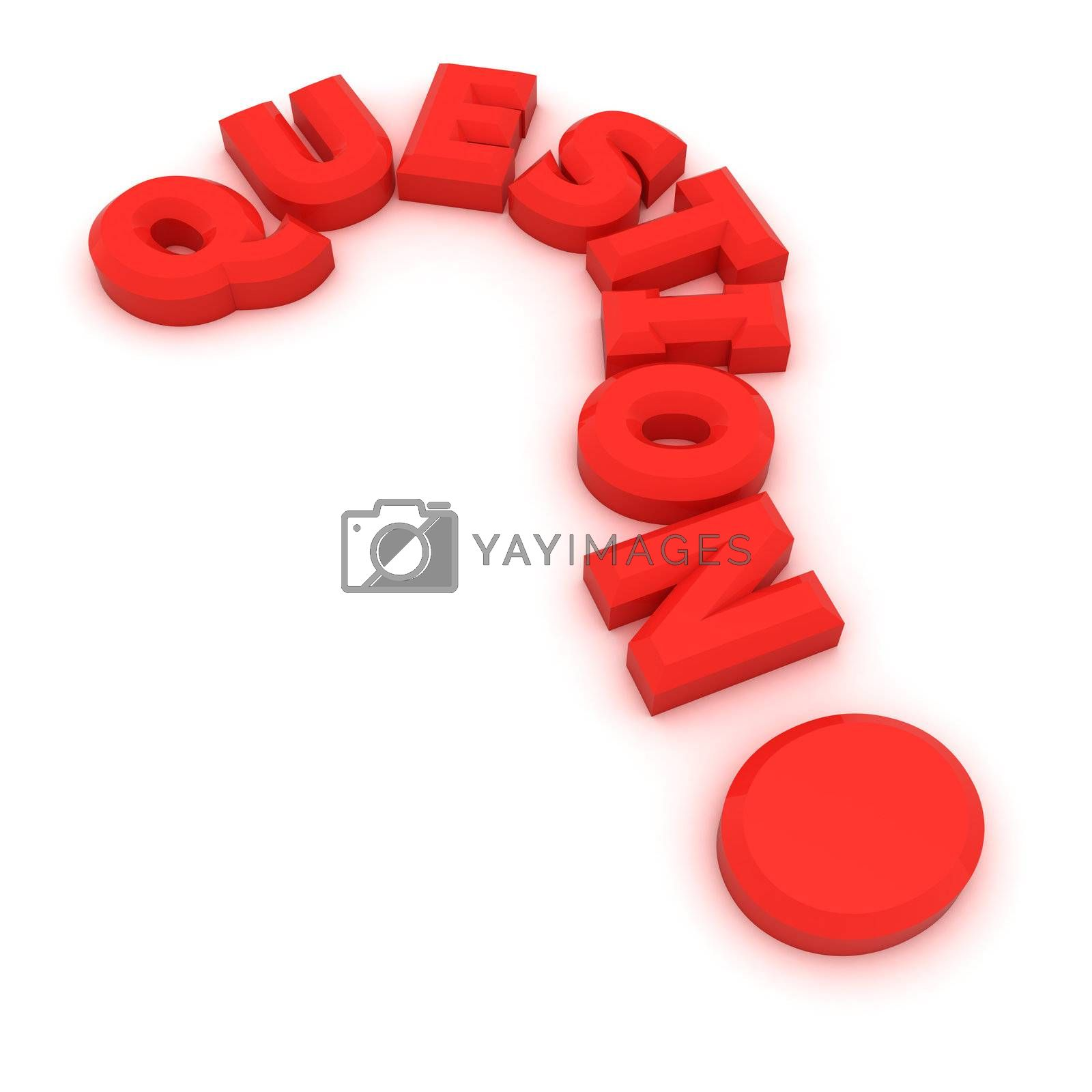 """Red word """"question"""" in the shape of question mark"""