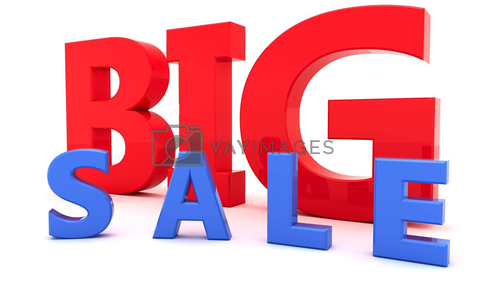 """Red and blue letters """"Big sale"""" isolated on the white background"""