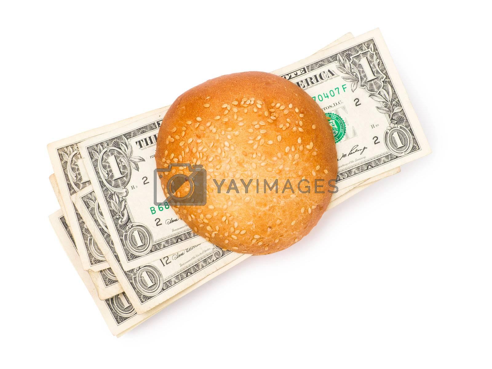 Money-stuffed burger isolated on the white background