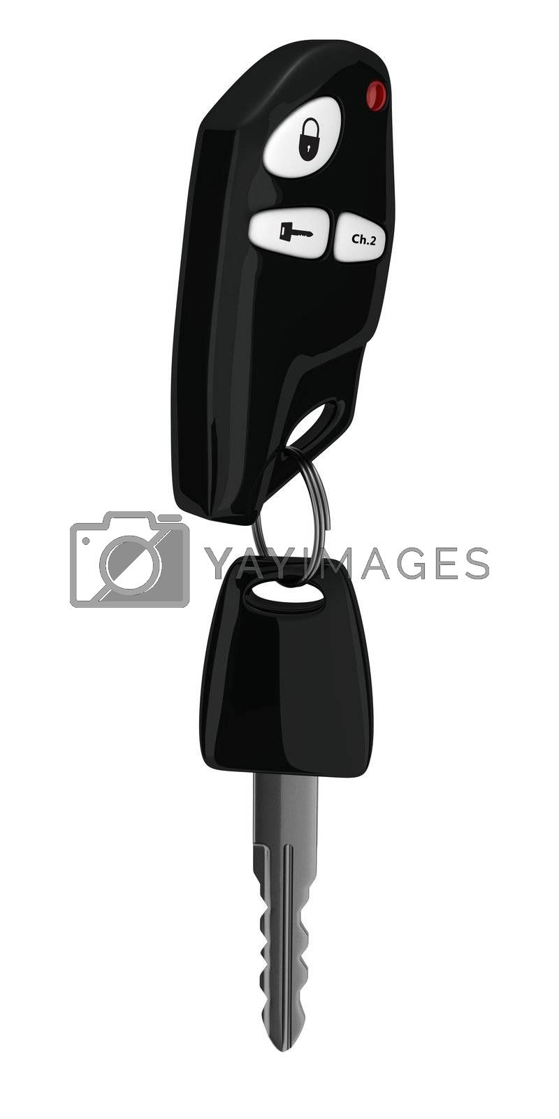 Car key and remote control isolated on a white background