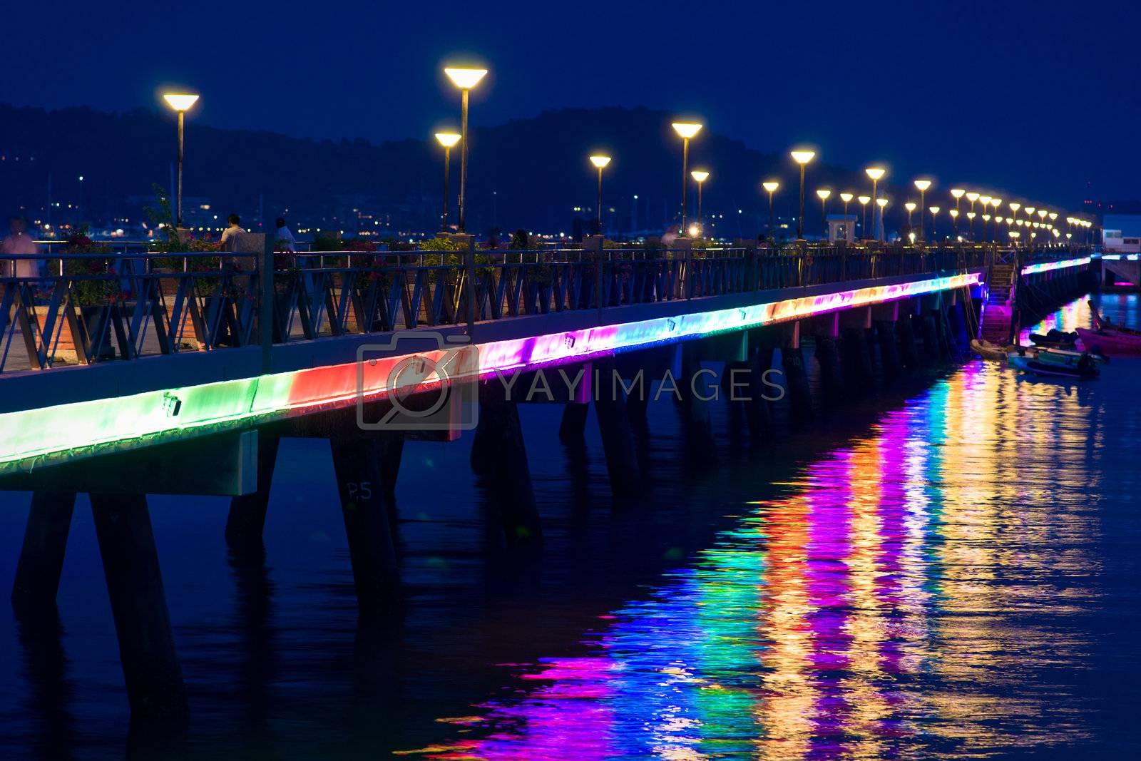 Chalong pier night-time lightning, Phuket island, Thailand