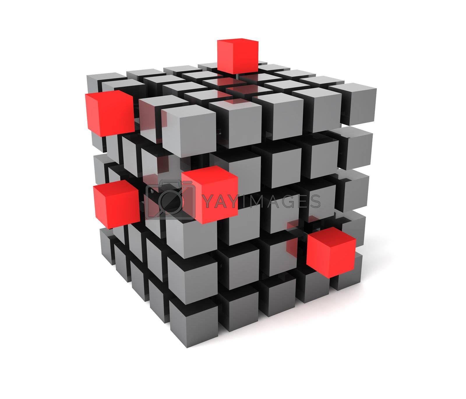 Three-dimentional cube with gray and red blocks isolated on white background