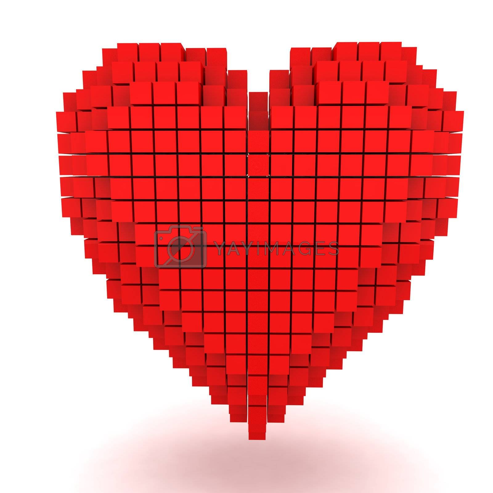 Three-dimensional red heart isolated on the white background
