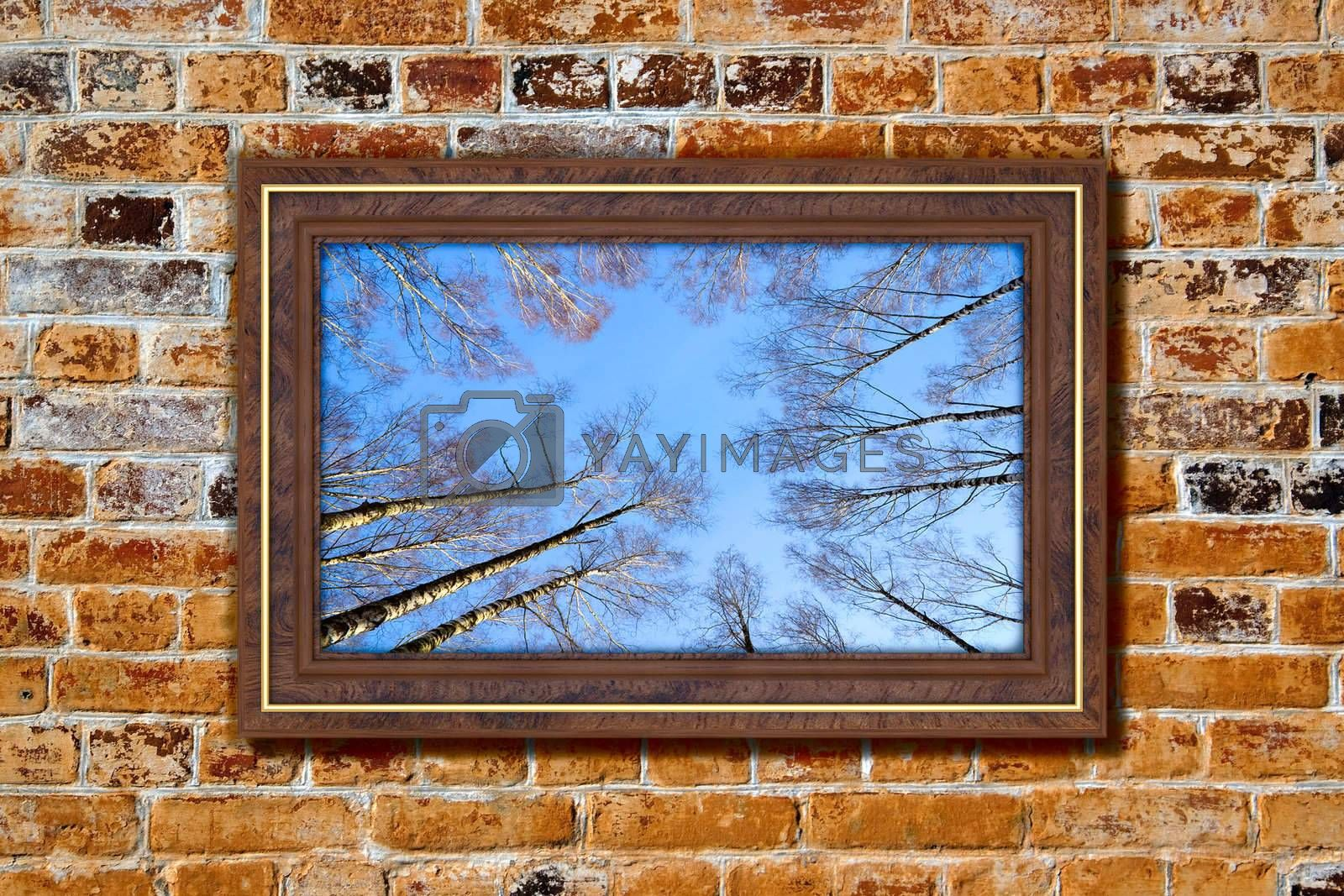 Photo in modern frame on the old brick wall