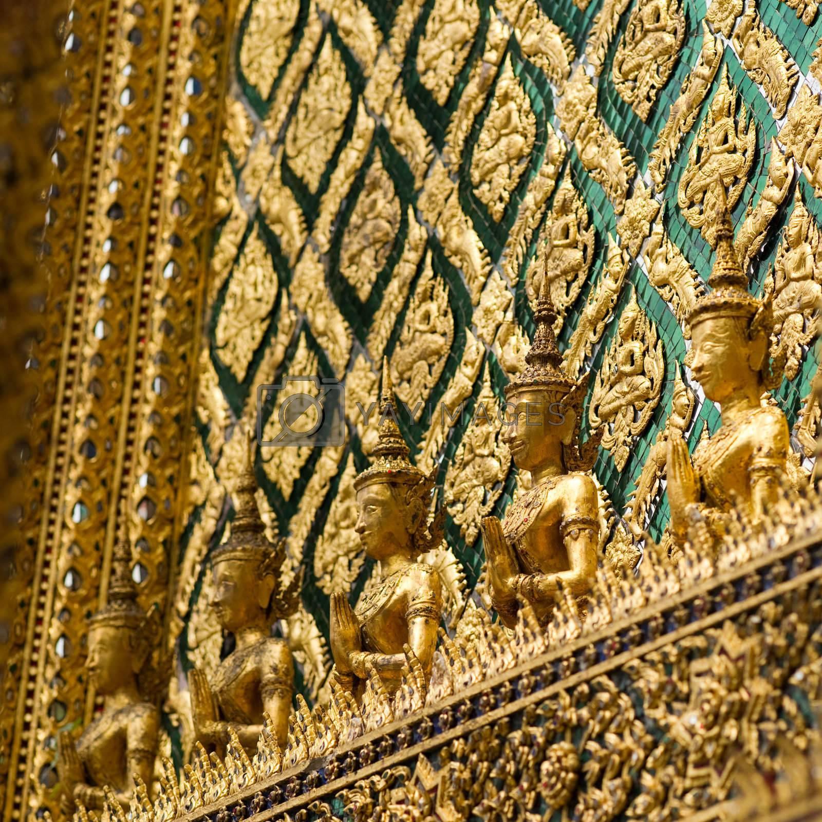 Ornamental wall in buddhist temple, Grand palace, Bangkok, Thailand