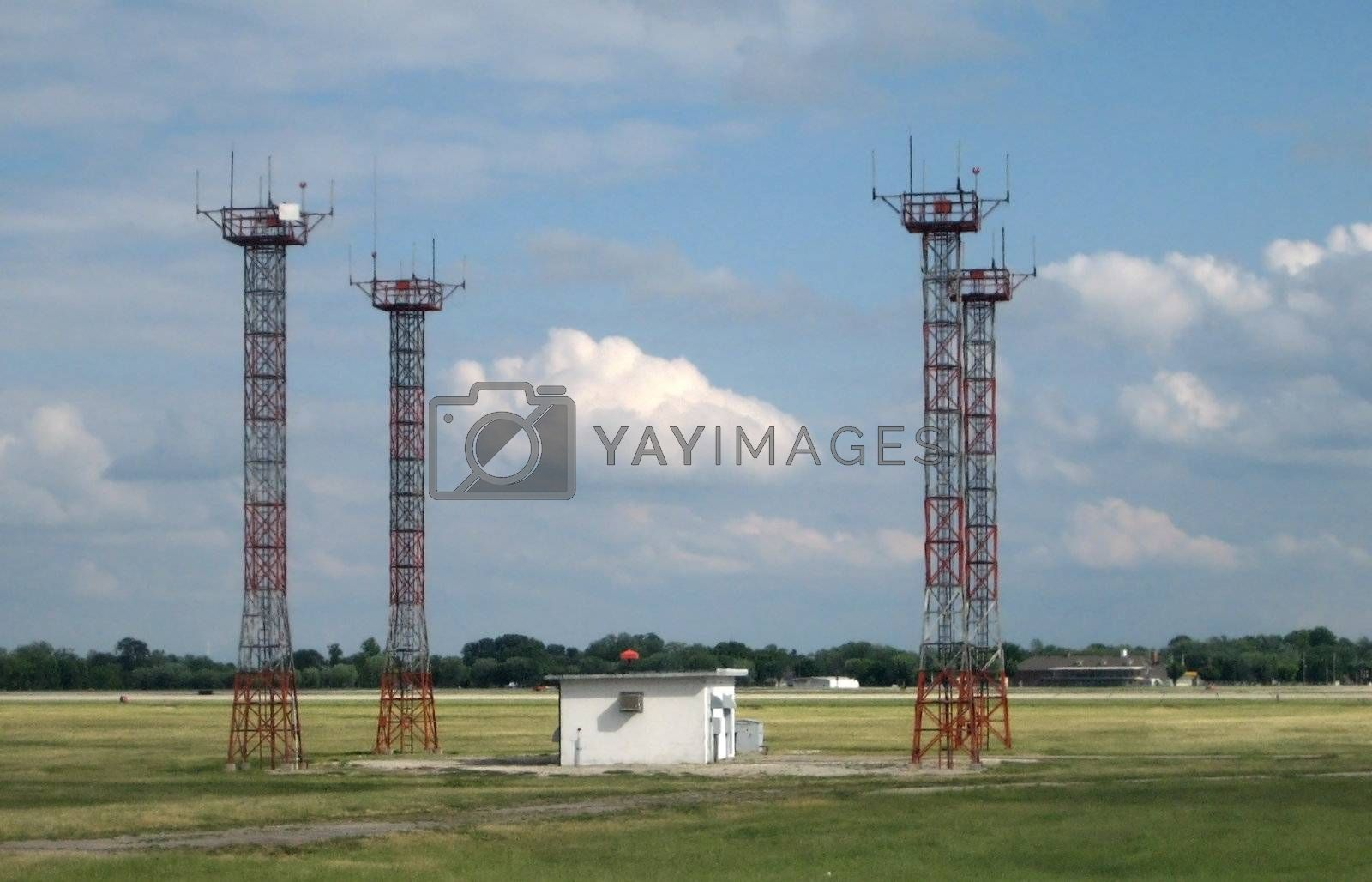 Stock pictures of antennas and other parts used in an airport for communications and operations support