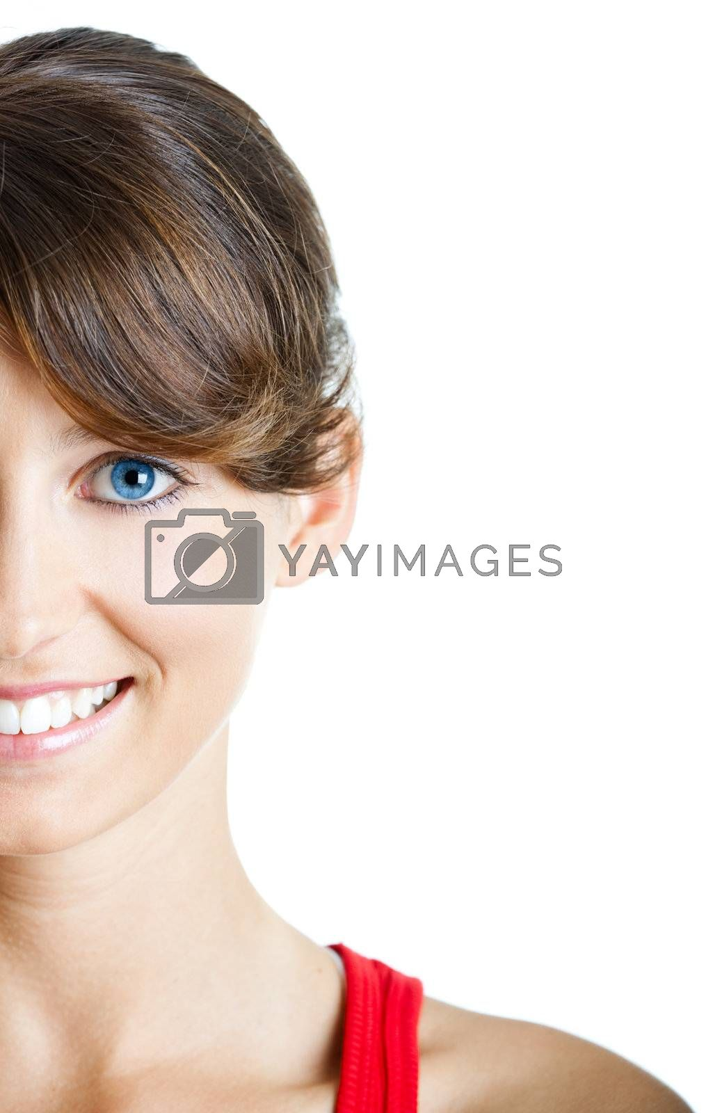 Portrait of a beautiful sexy young woman, isolated on white