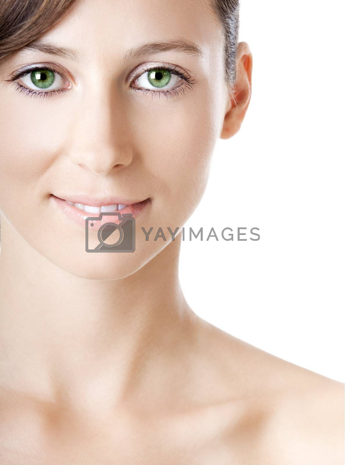 Young woman with beautiful green eyes, isolated on white
